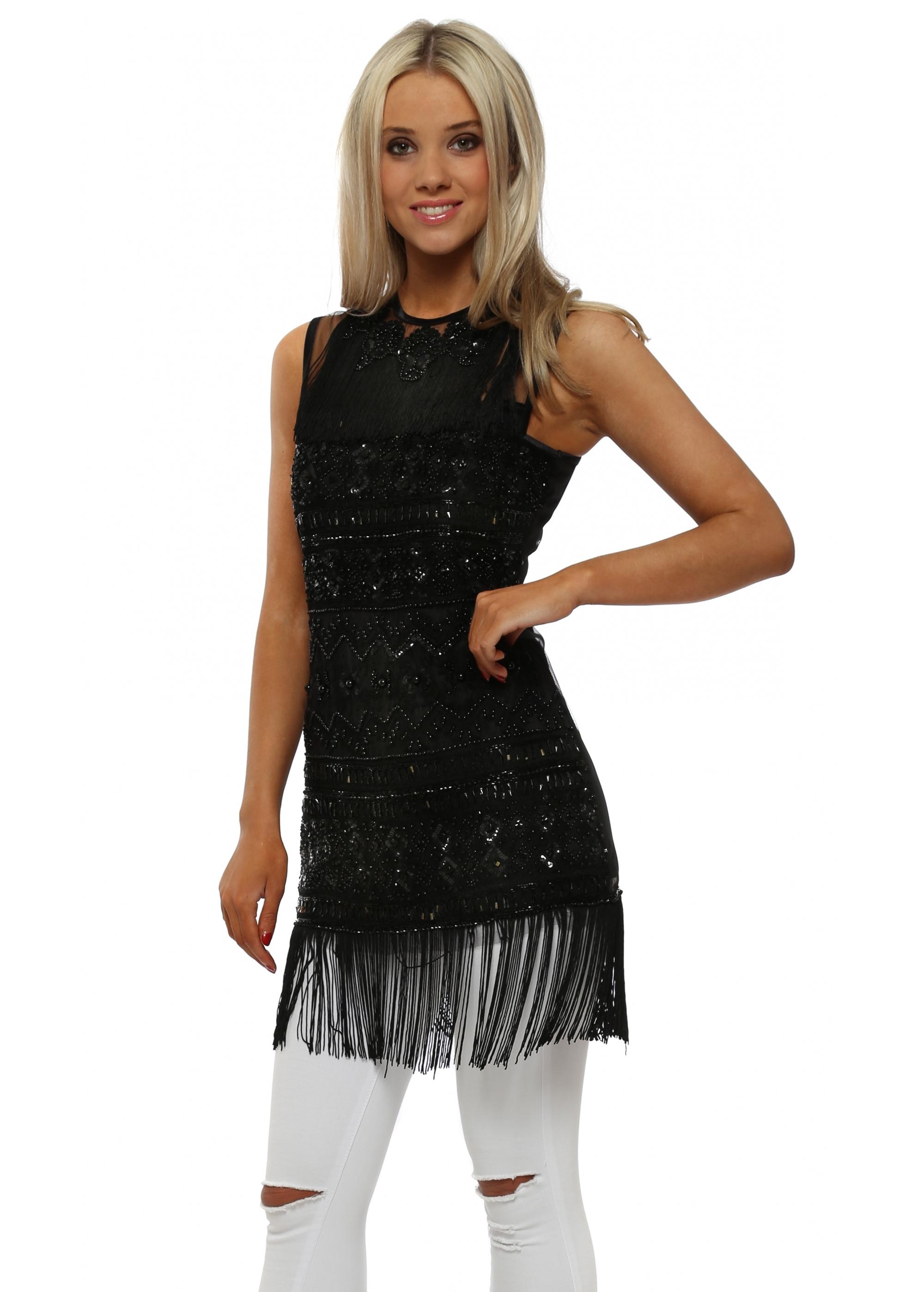 f6fe5284ccbf35 Starry Eyed Top - Black Sequin Tassel Top