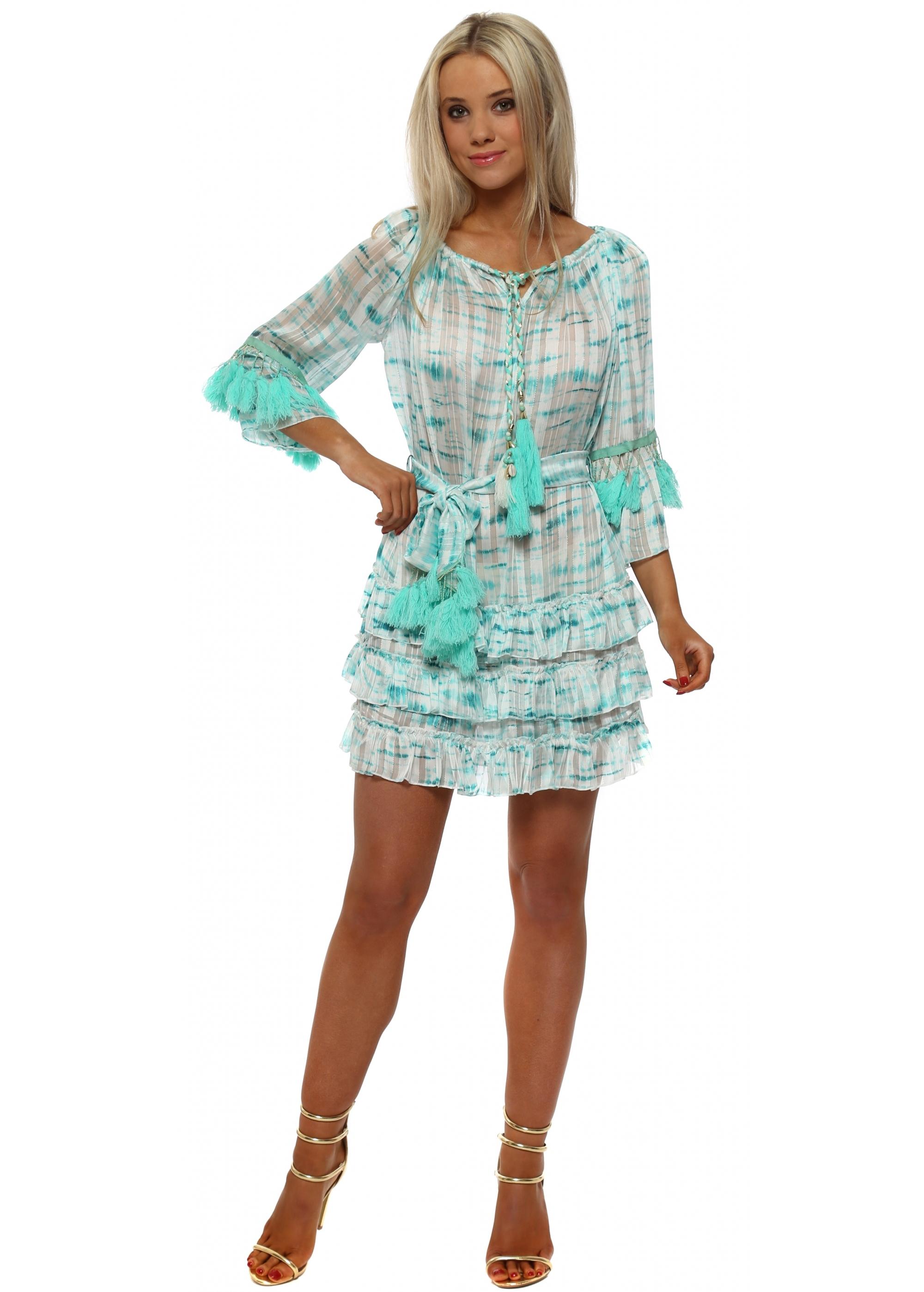 Laurie & Joe Turquoise Tie Dye Chiffon Mini Dress