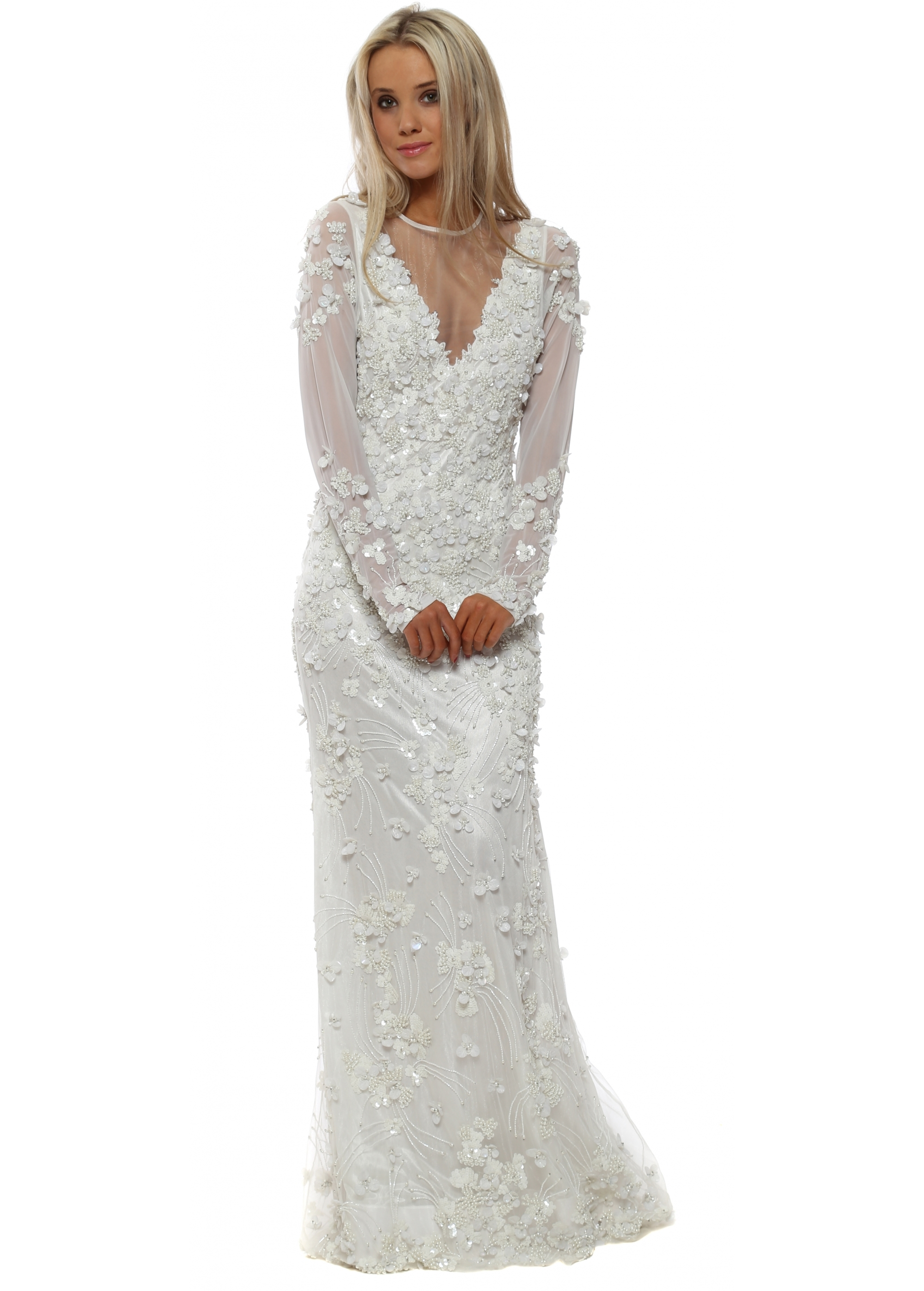 fedac833db2b6 Starry Eyed Pearl & Sequin Embellished Button Back Maxi Dress