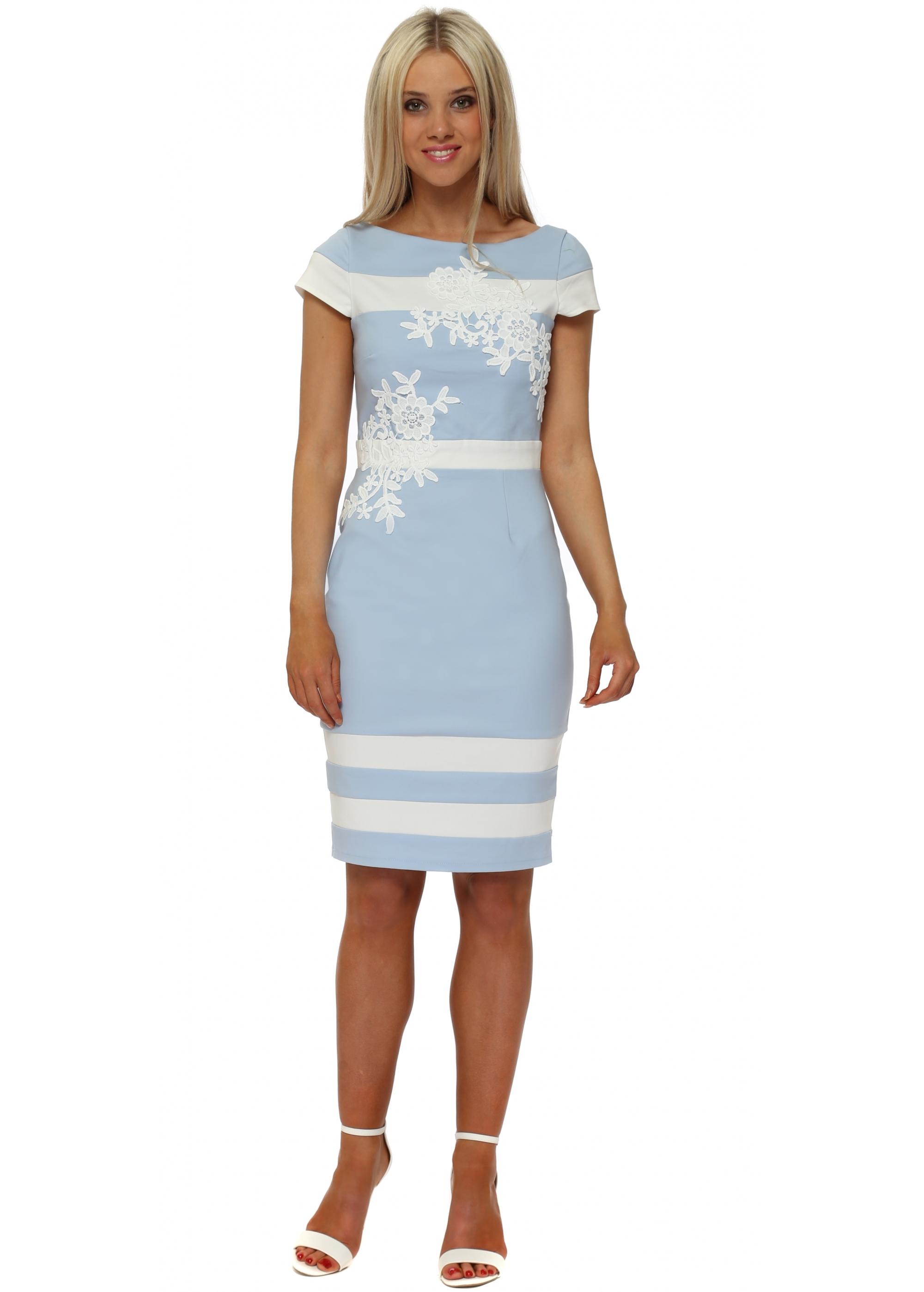 f30a3e4c329 Light Blue Floral Applique Pencil Dress