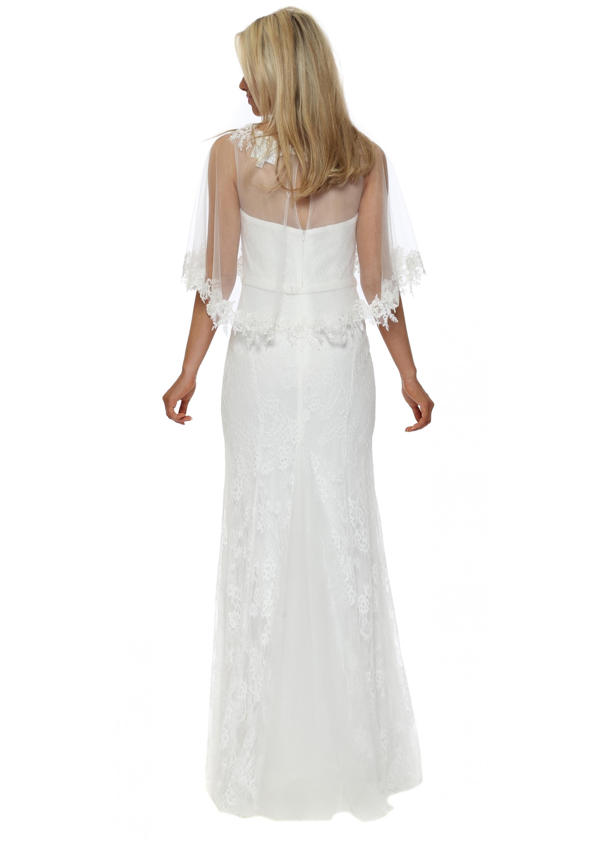 Mascara White Lace Cape Gown - Style MC181166