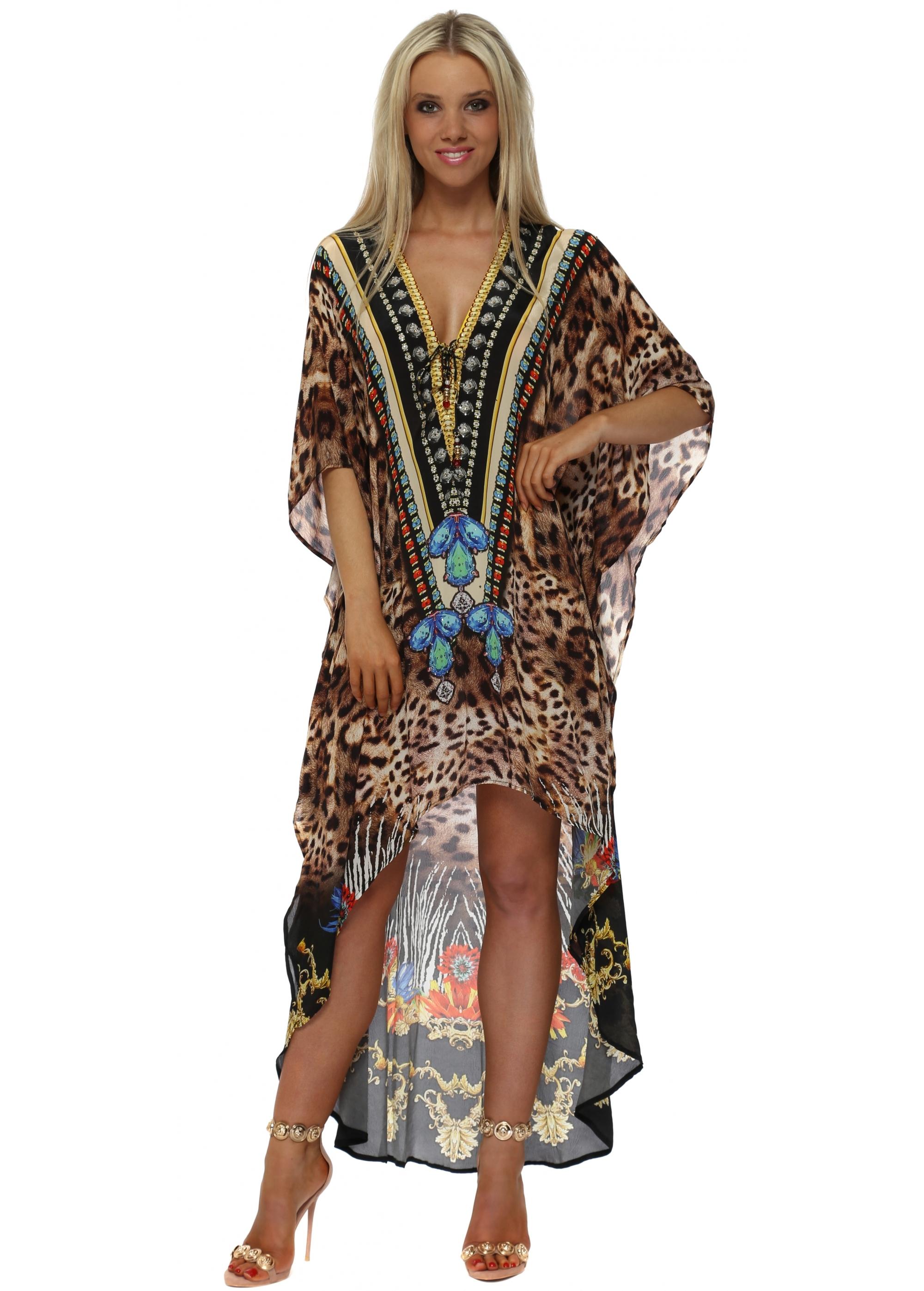 Exotic Floral Leopard Print Hi Low Kaftan Dress 4870eec67