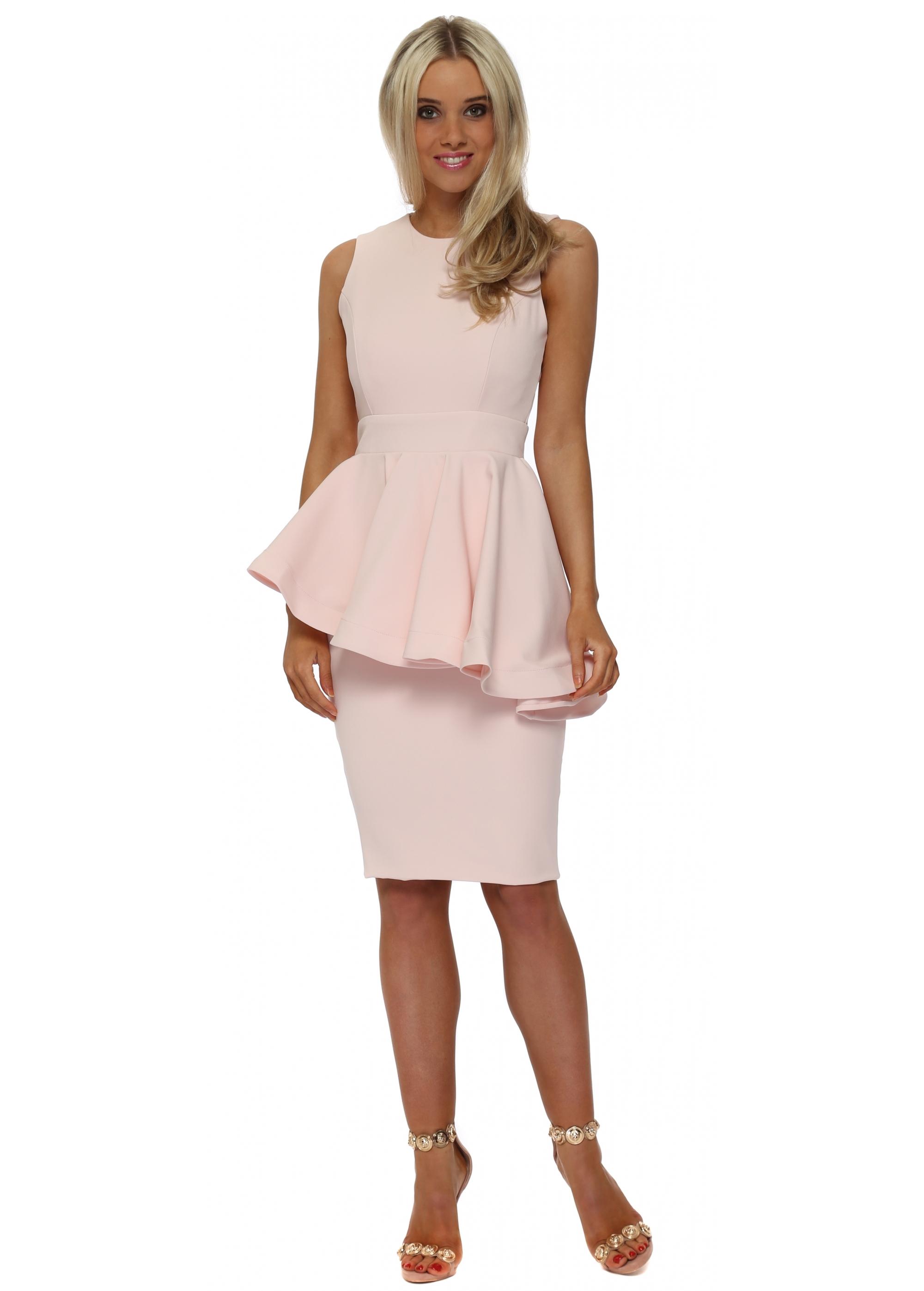 Rebecca Rhoades Juillet Dress Pink Peplum Midi