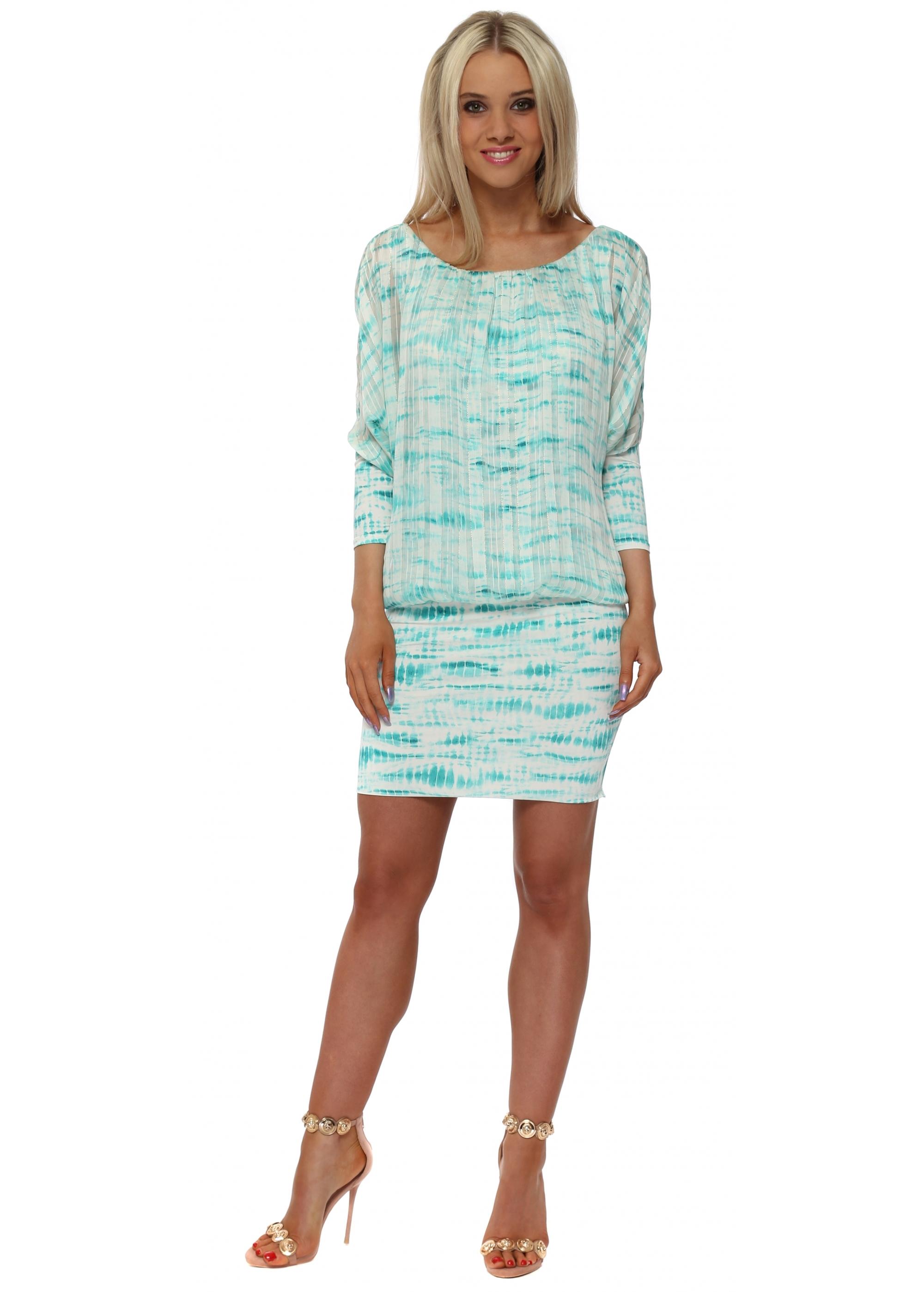 Troiska Paris Turquoise Tie Dye Mini Dress