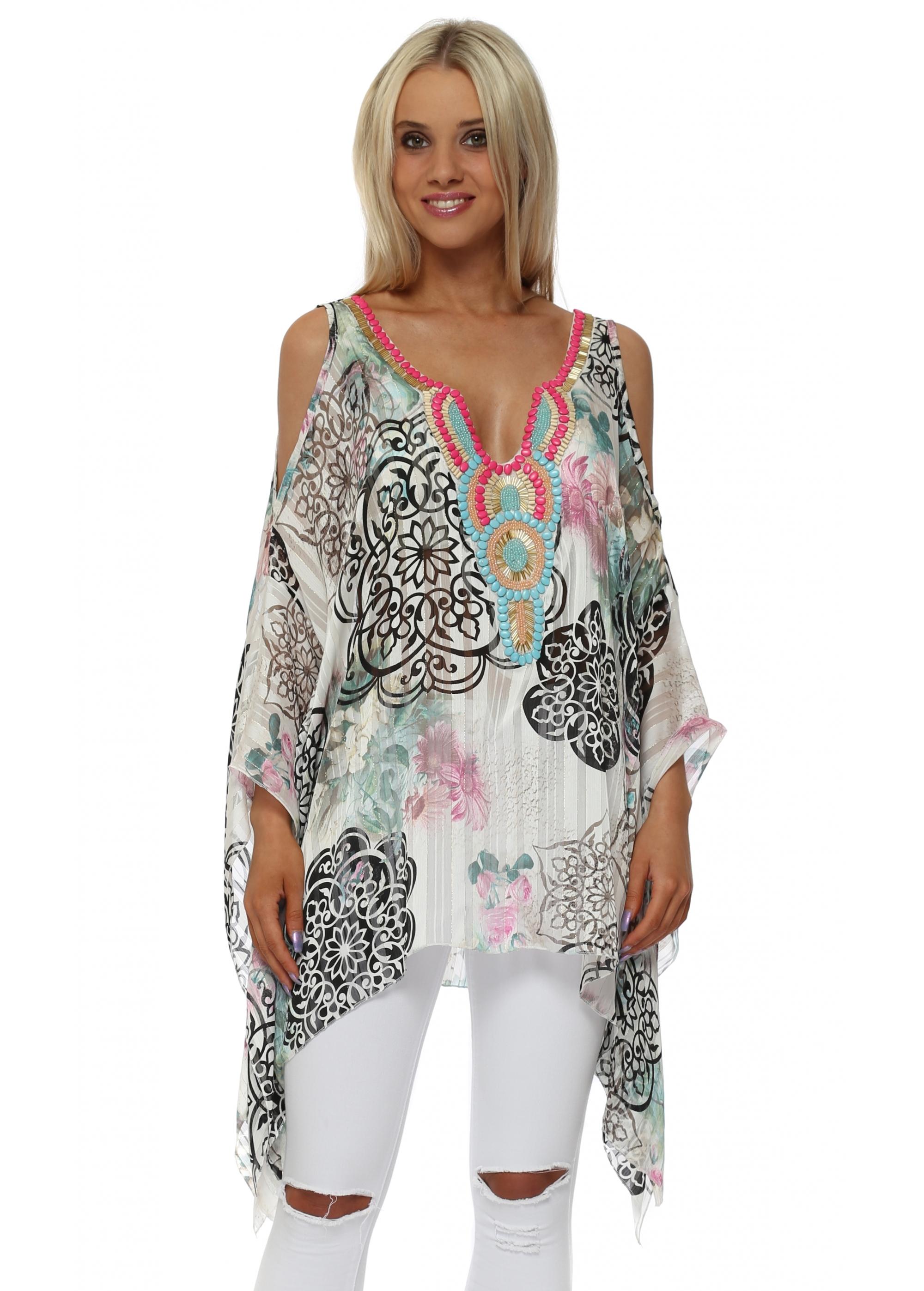 6663d61cb5223 Floral Print Embellished Cold Shoulder Kaftan Top