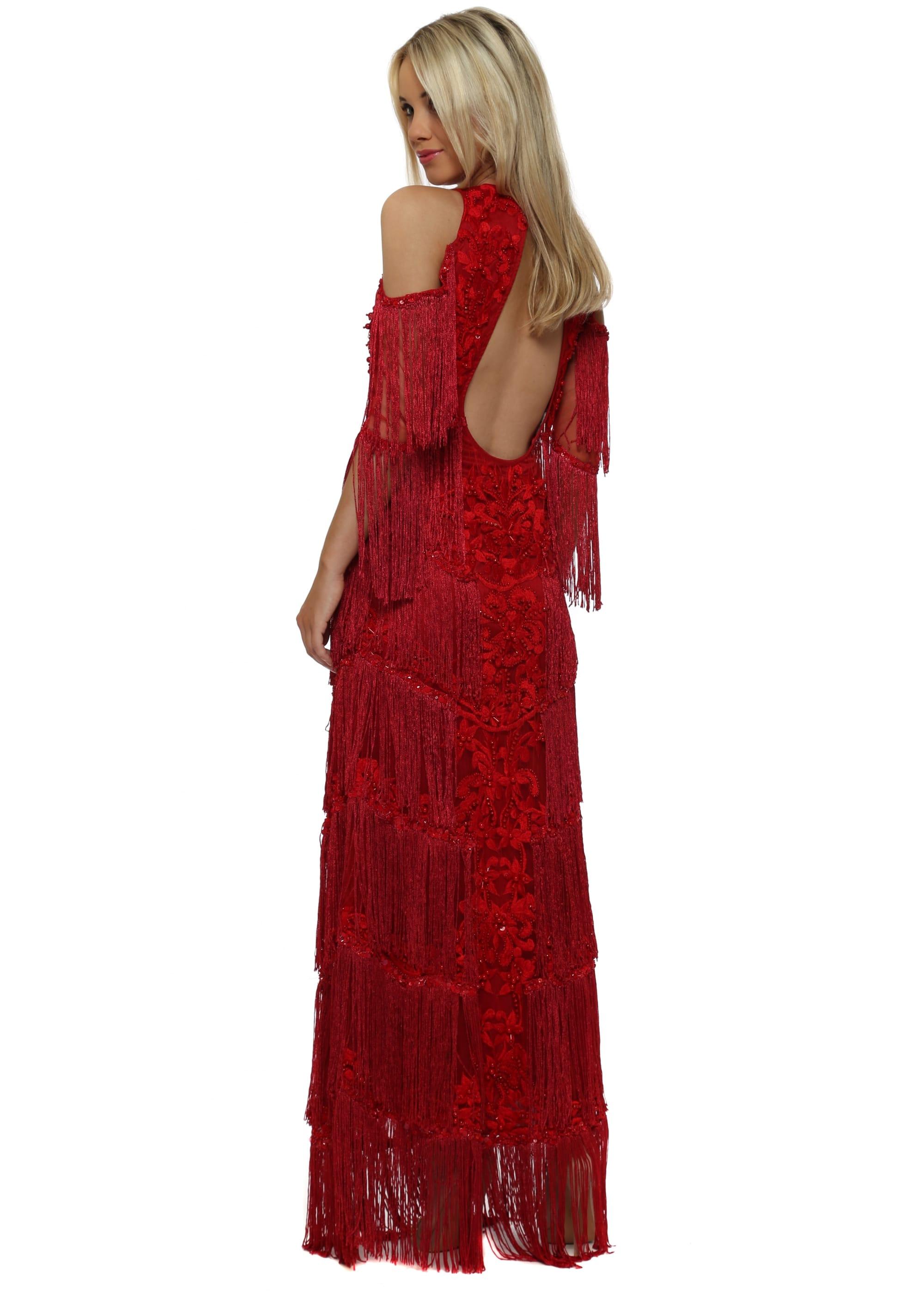 834941639e1 EXCLUSIVE Red Tassel Embellished Cold Shoulder Maxi Dress