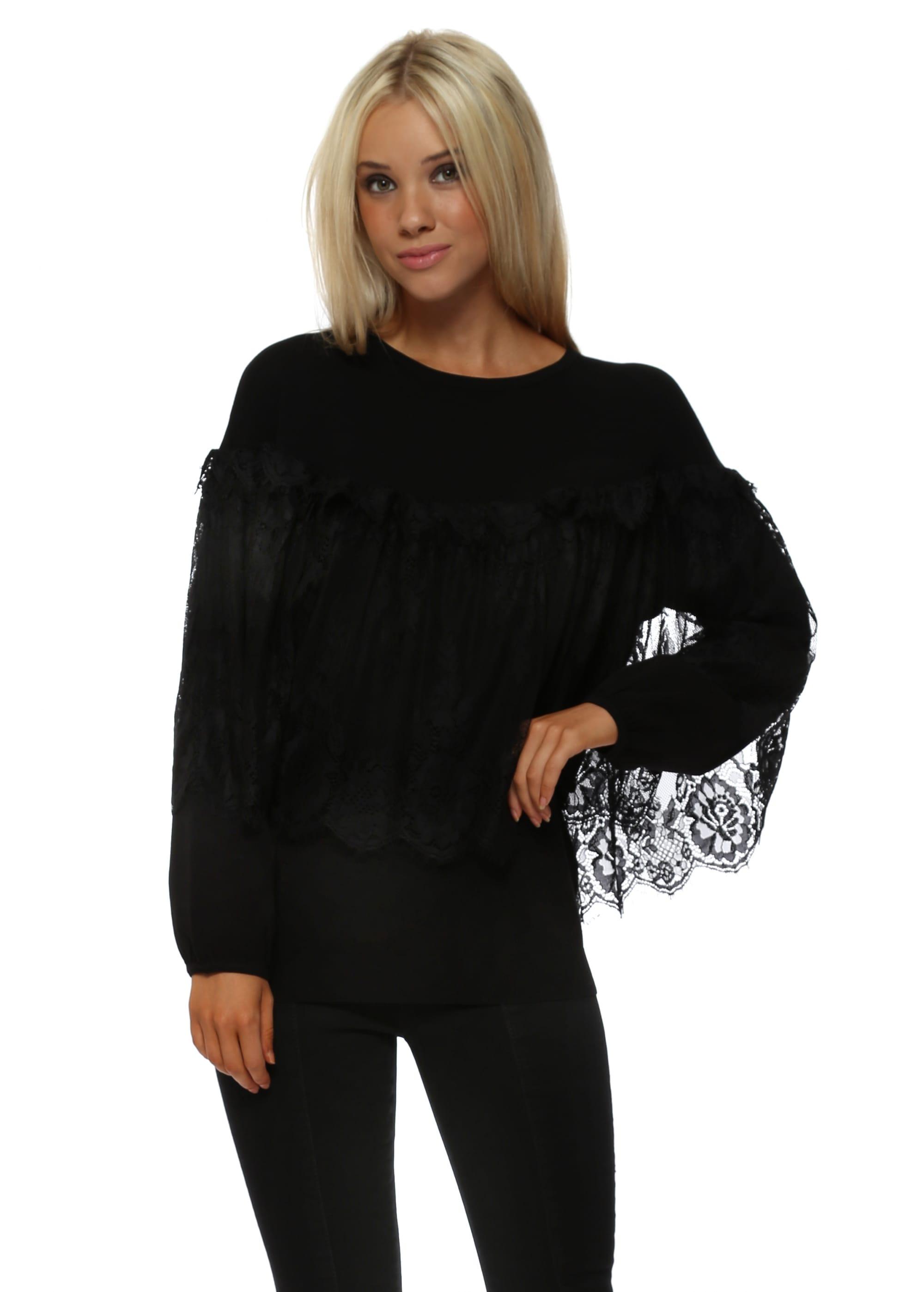 e0f31b3b653 Laetitia Mem Black Lace Cape Jumper