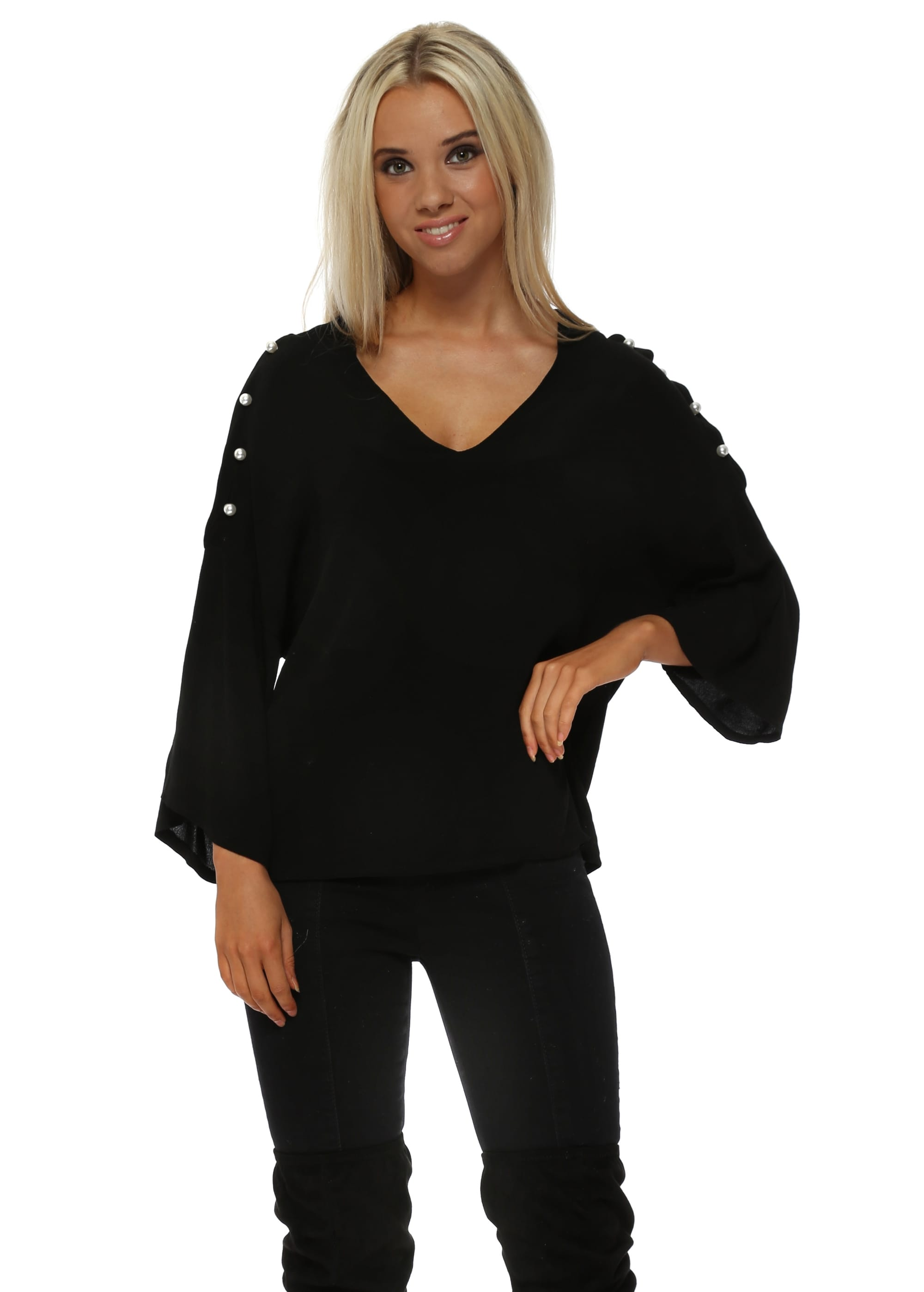 7b42303be Black Pearl Sleeve Cold Shoulder Blouse Top