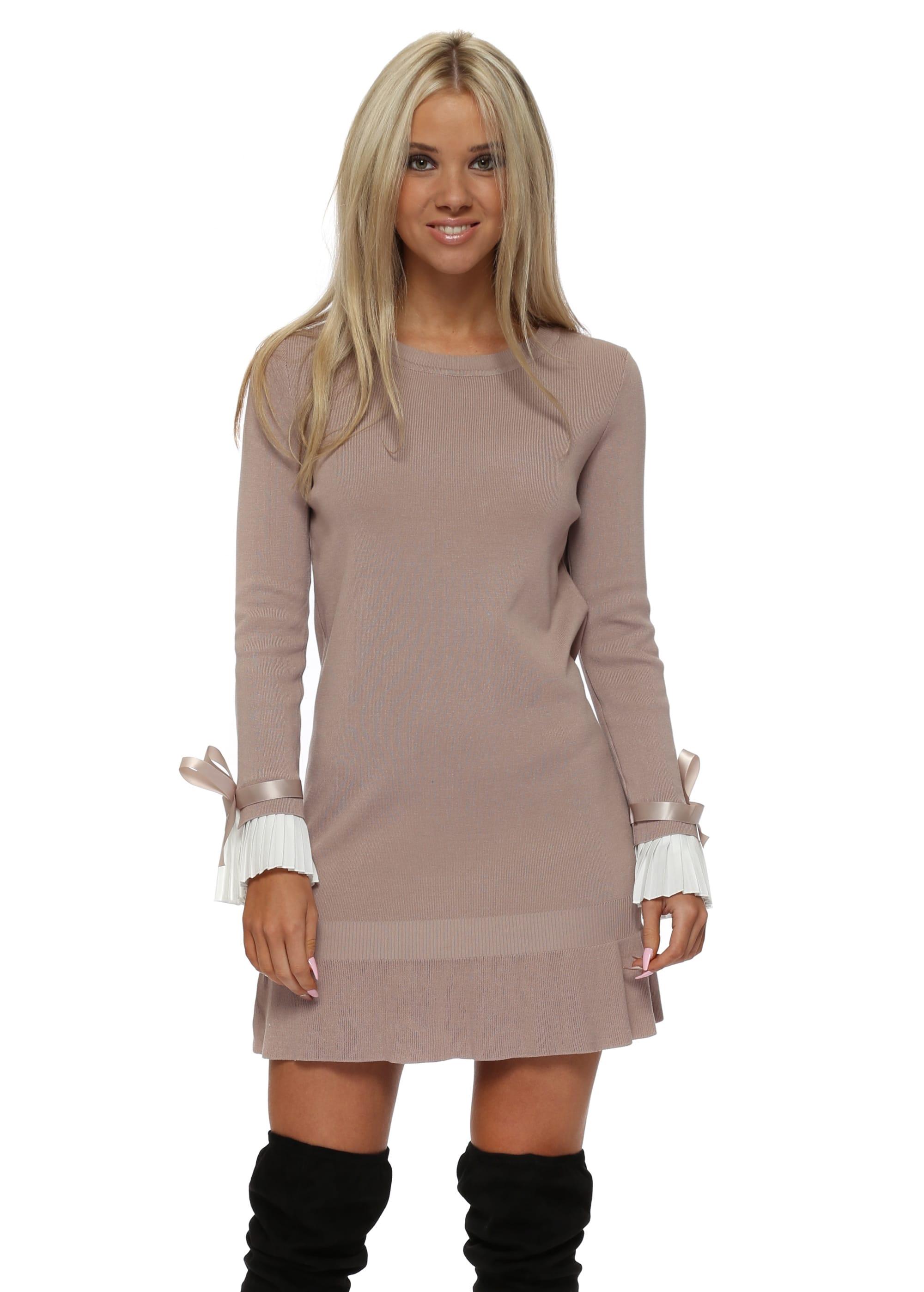e74af99a5e5 Beige Jumper Dress With White Pleated Cuffs - Laetitia Mem