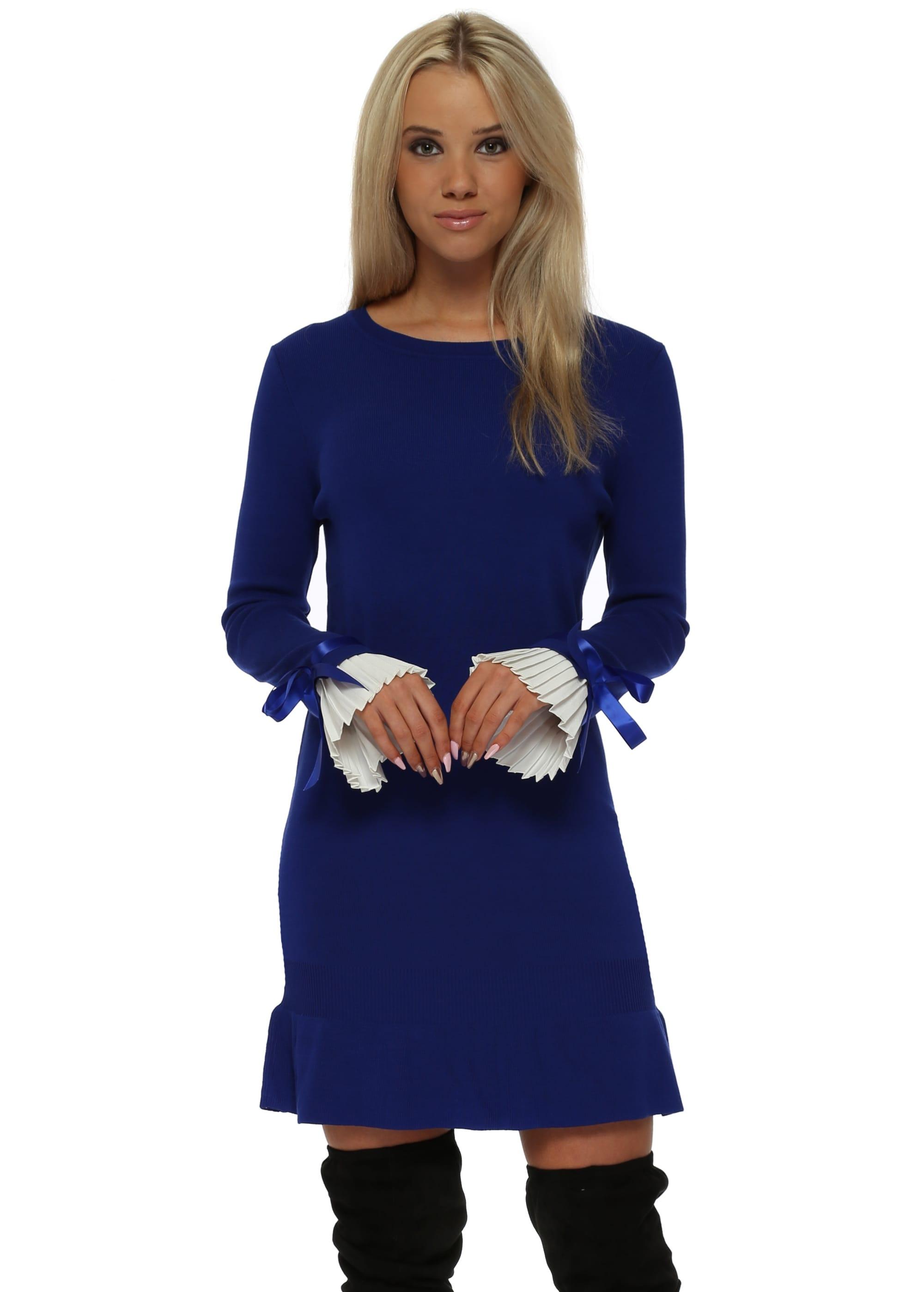 2887d6b1429 Blue Jumper Dress With White Pleated Cuffs - Laetitia Mem