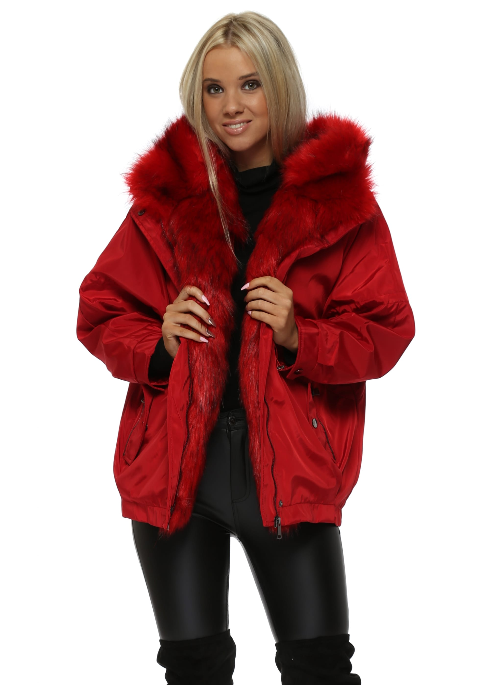 d2d894d7ce0c Red Hooded Puffer Jacket With Detachable Faux Fur