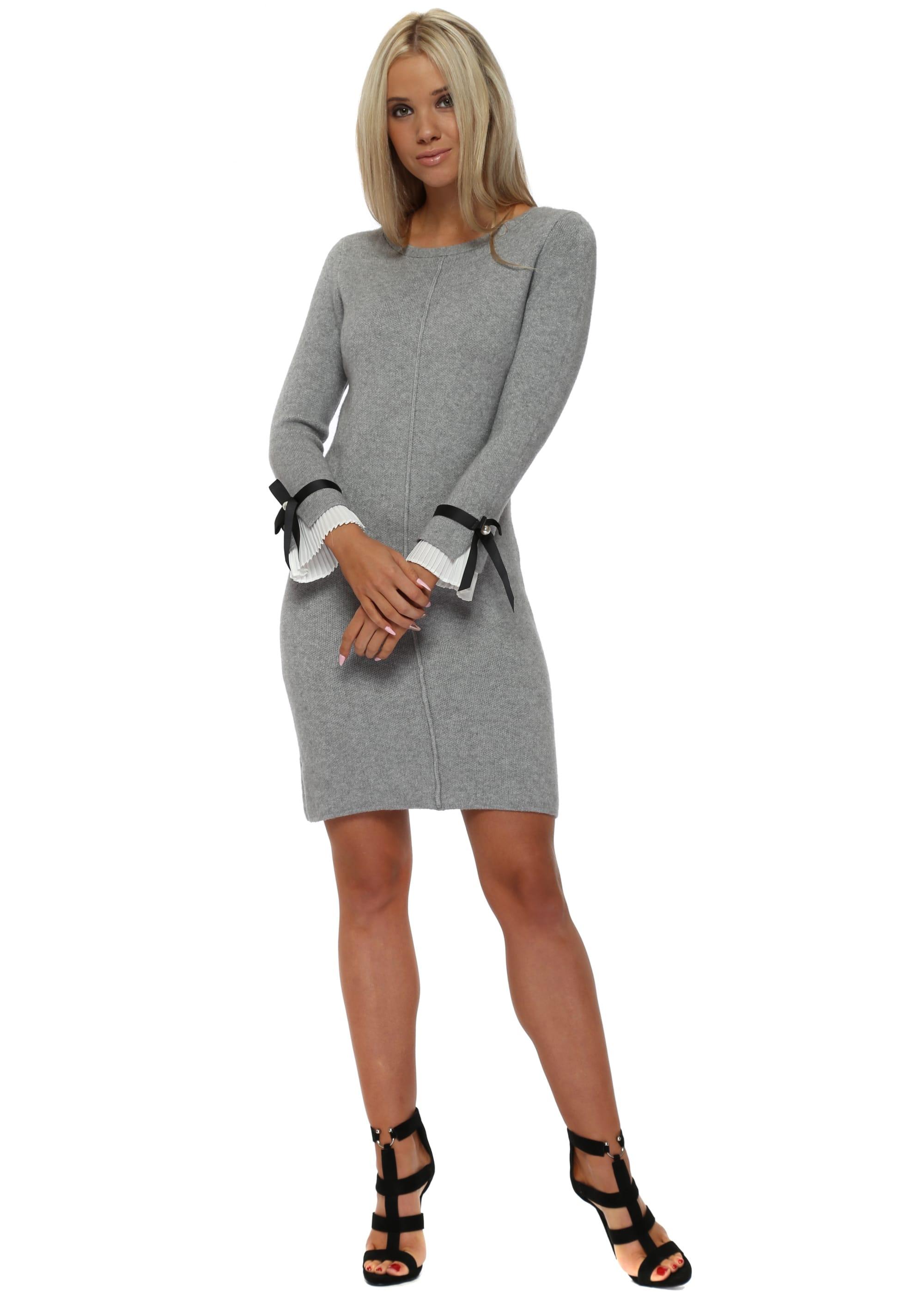 61567709e82 Grey Contrast Pleated Cuffs Midi Jumper Dress
