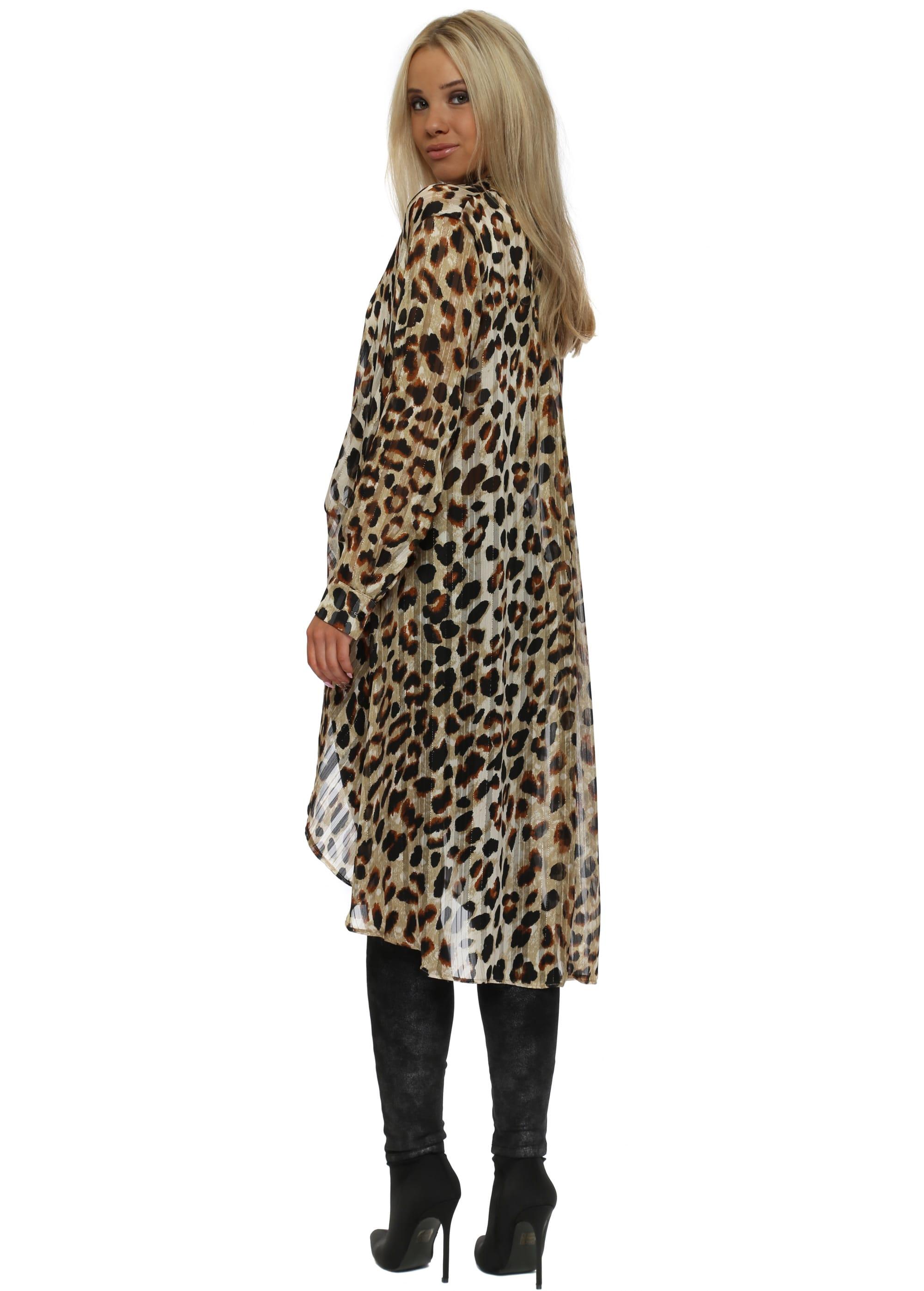 2eadf06f1caa Leopard Print High Low Semi Sheer Oversized Shirt