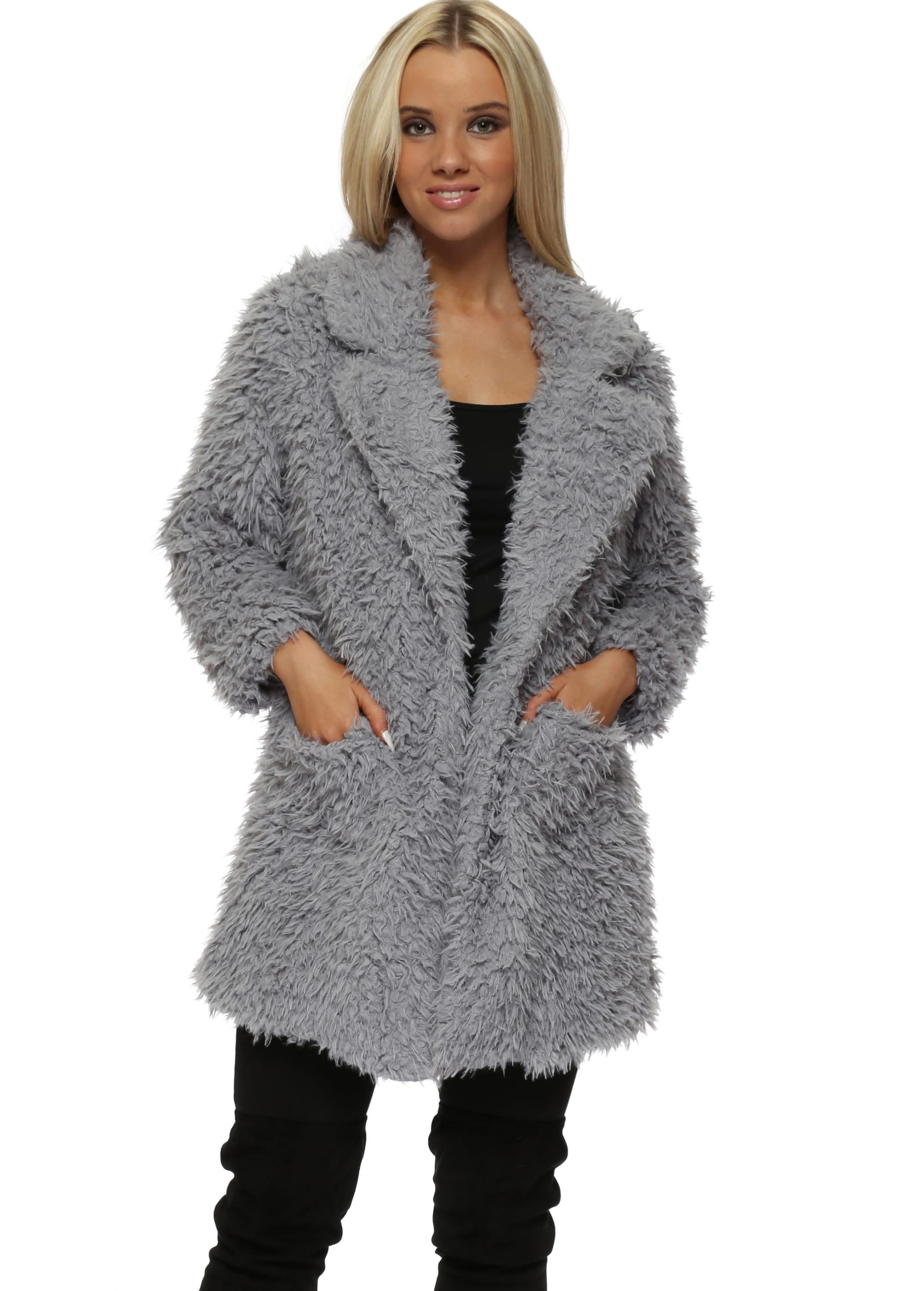 97e3fb65c3e3 Grey Shaggy Faux Fur Coat by Lucy Wang