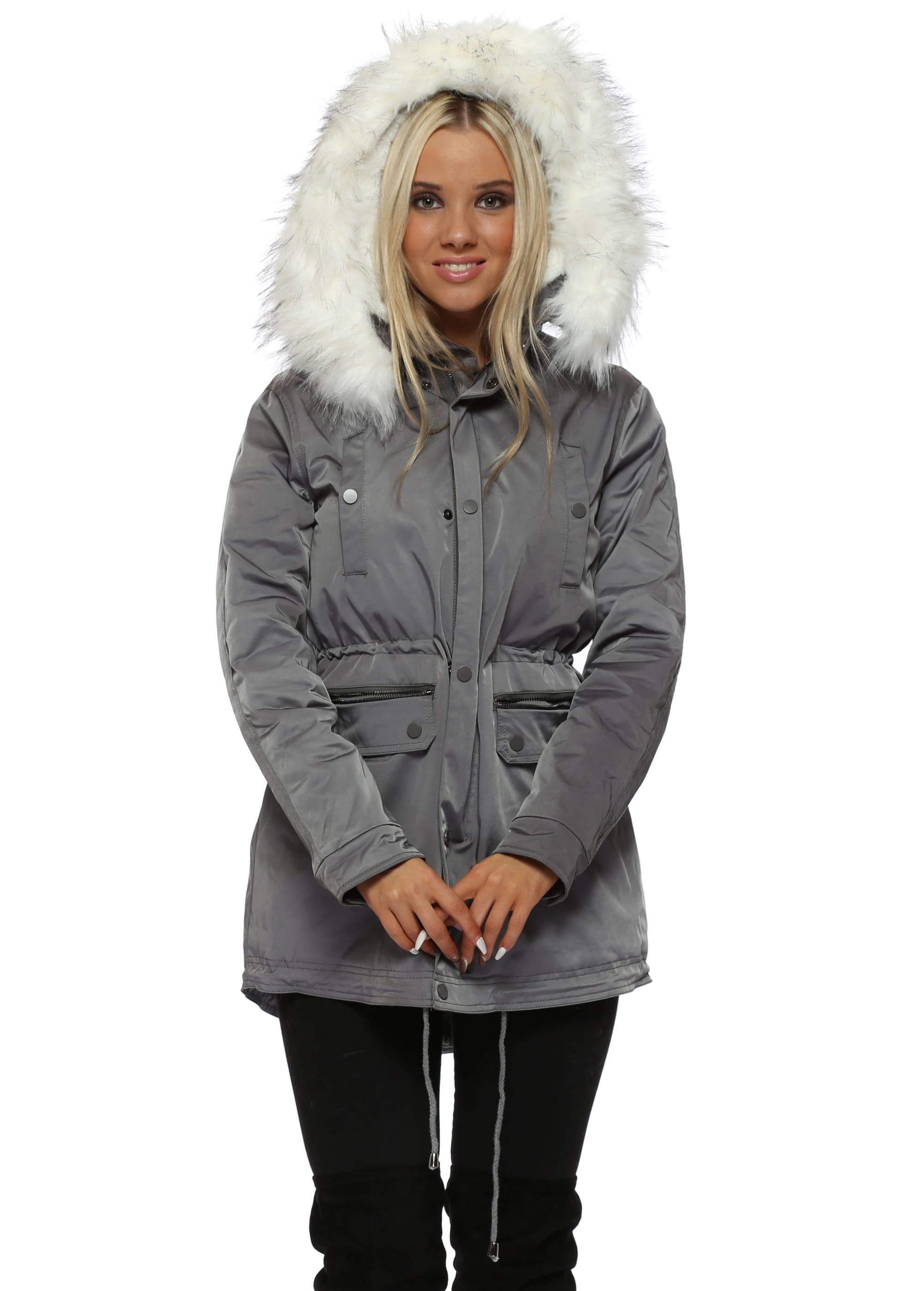Grey Faux Fur Hooded Parka Coat - Drole De Copine efb033ddf0cf