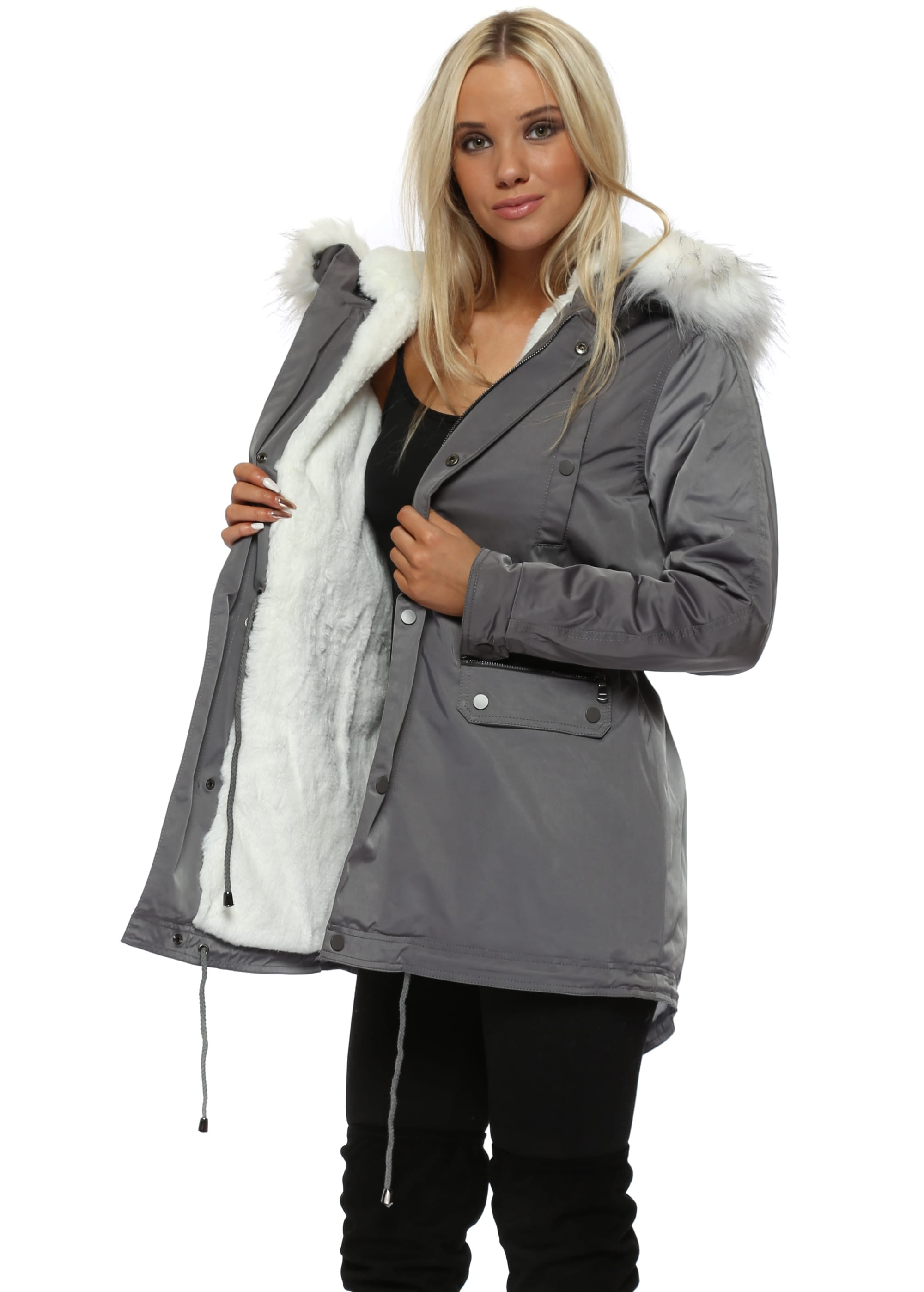 1b026bd3672d Grey Faux Fur Hooded Parka Coat - Drole De Copine
