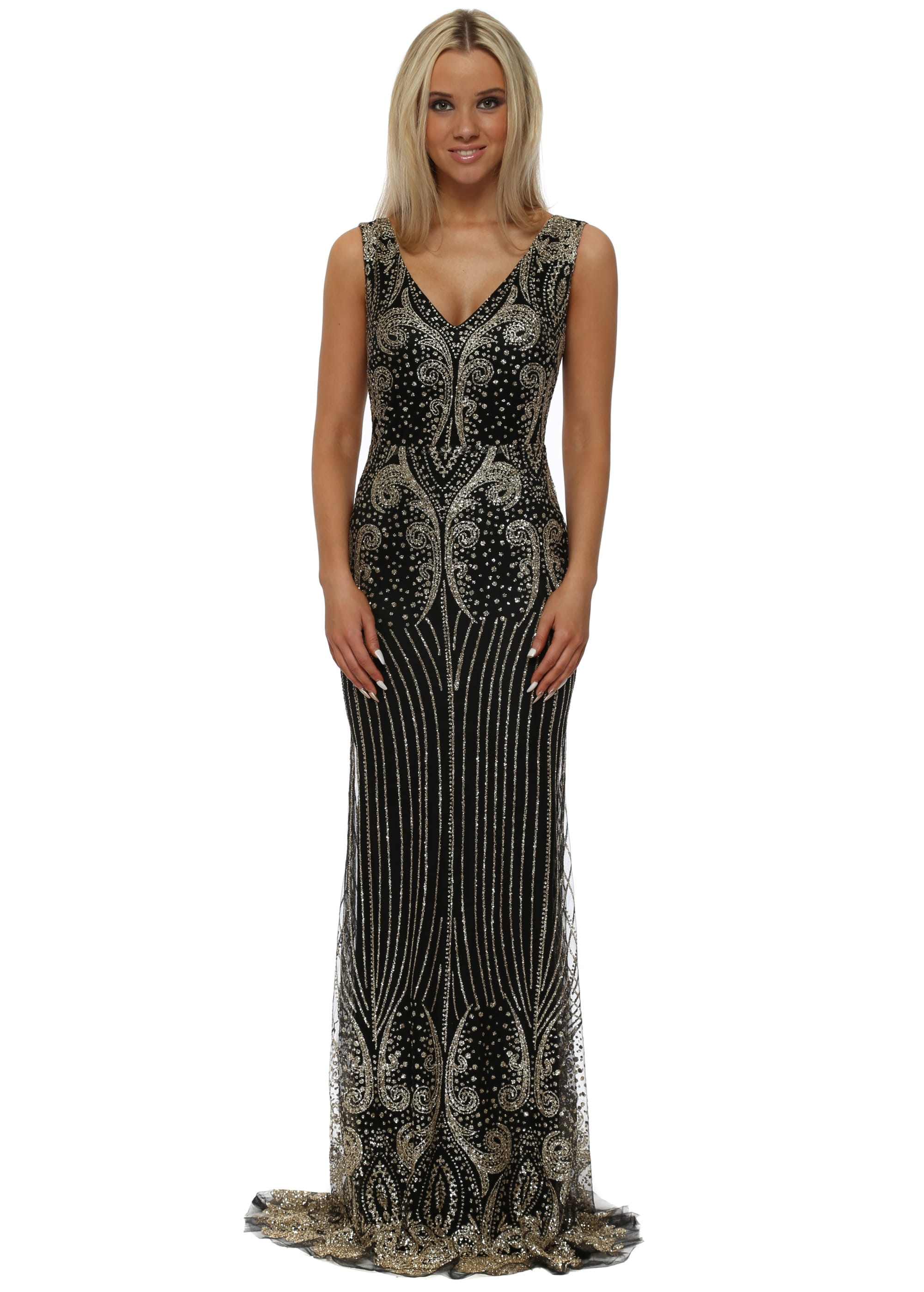 Black Gold Sequinned Fishtail Maxi Dress Lucy Wang