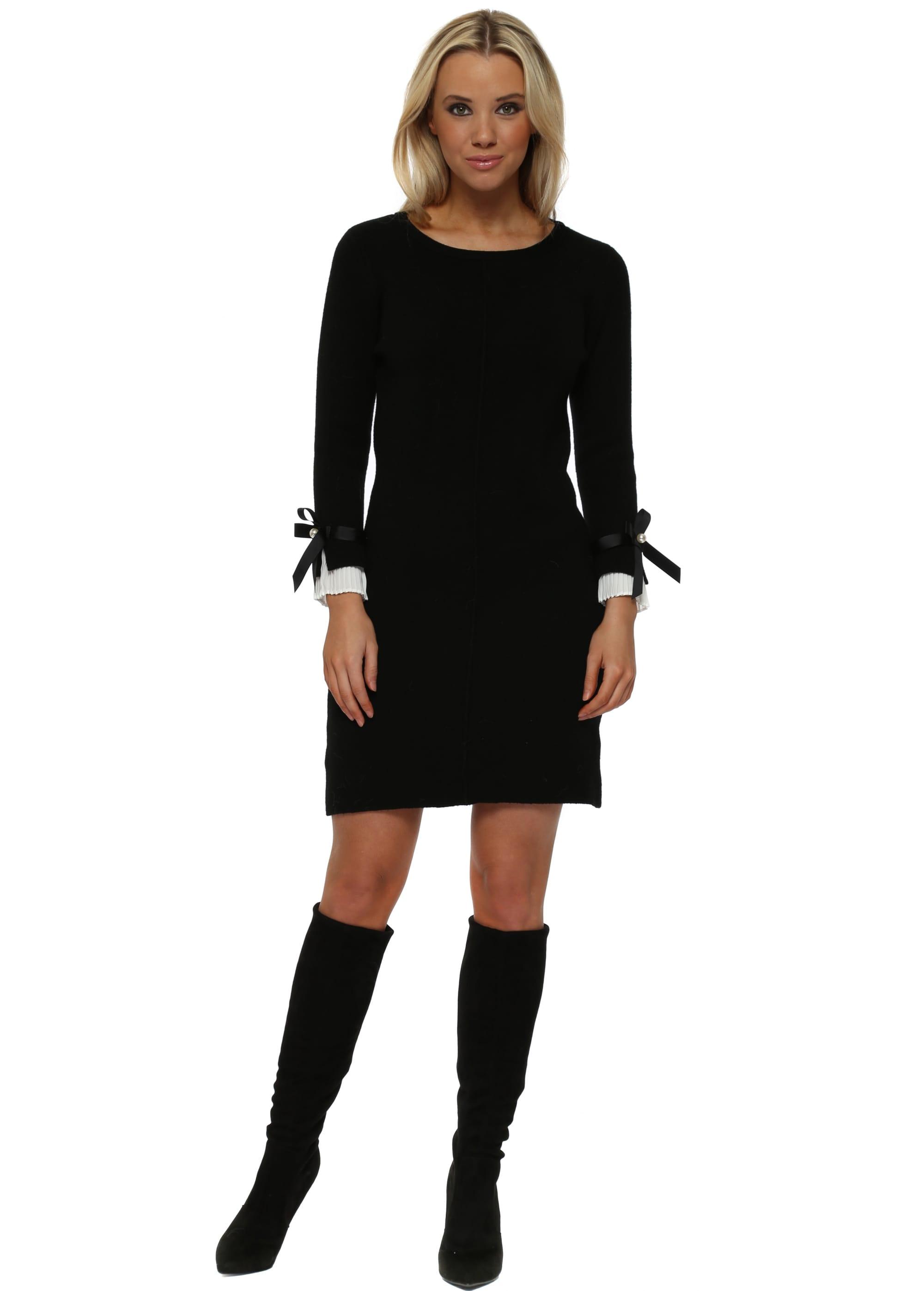 81266a2617e Black Contrast Pleated Cuffs Midi Jumper Dress
