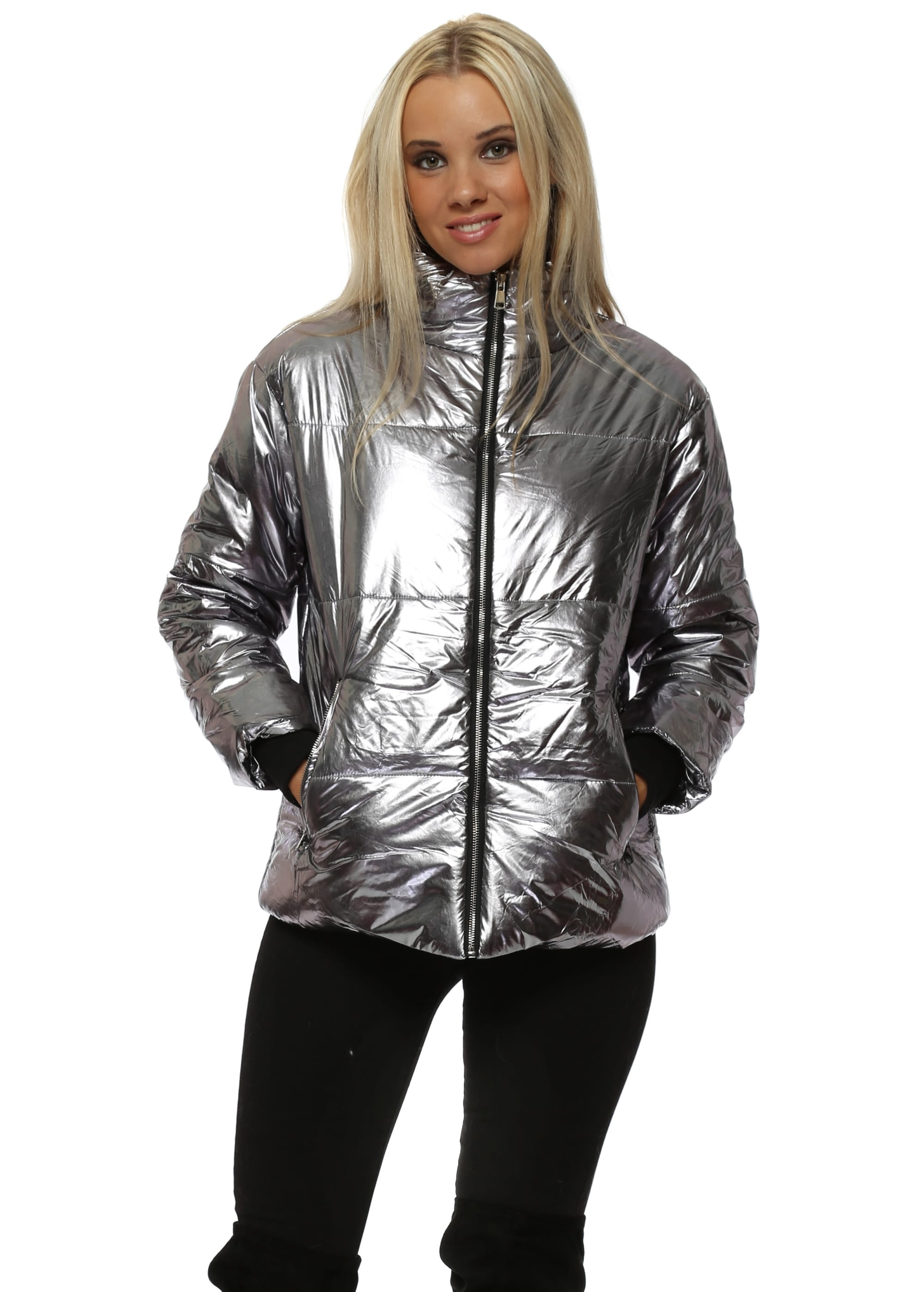 Silver Foil Quilted Puffer Jacket