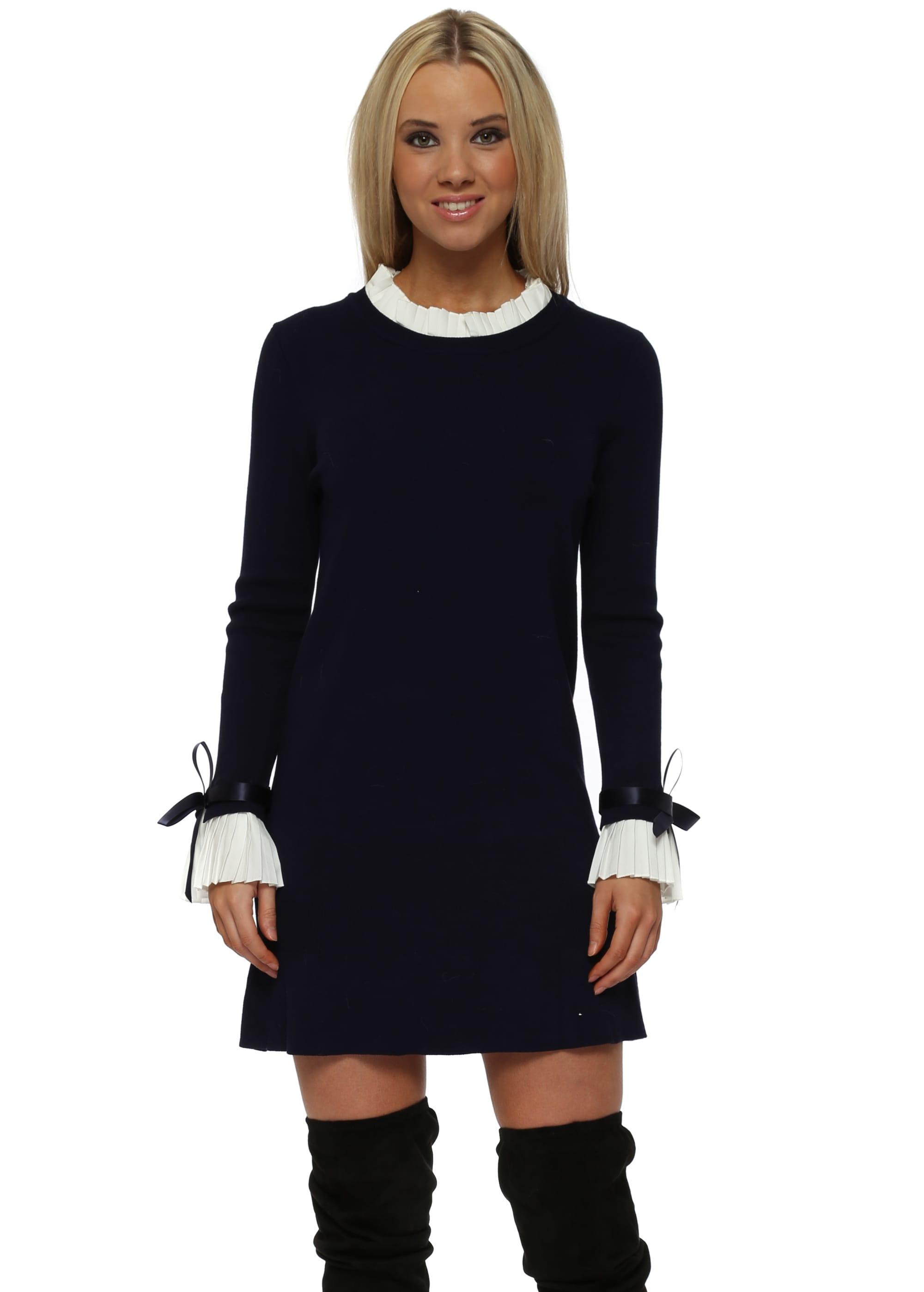 87988645548 Navy Blue Pleated Collar  amp  Cuffs Jumper Dress