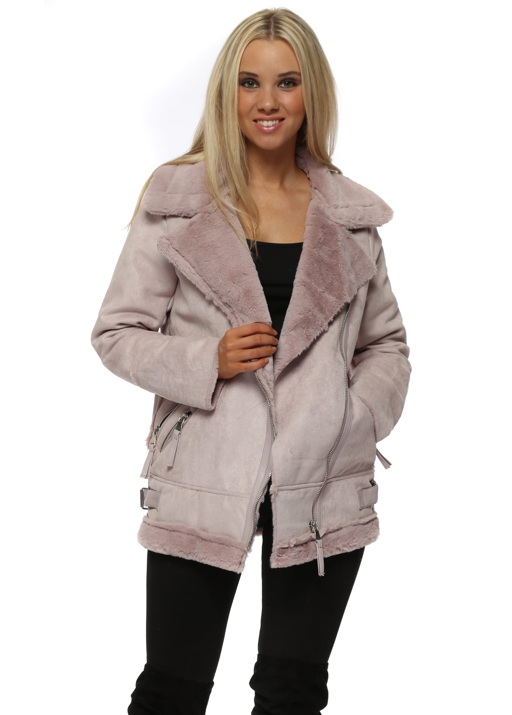 c4ac57568295c Pink Faux Fur Shearling Aviator Jacket