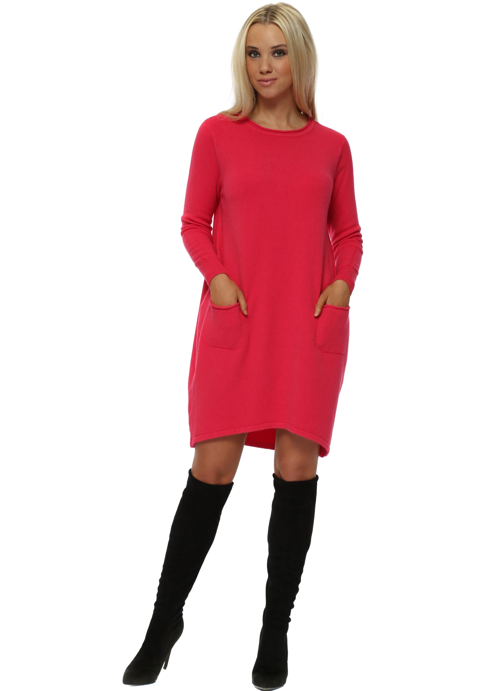 a80df26024d Sugar Babe Pink Long Sleeve Jumper Dress