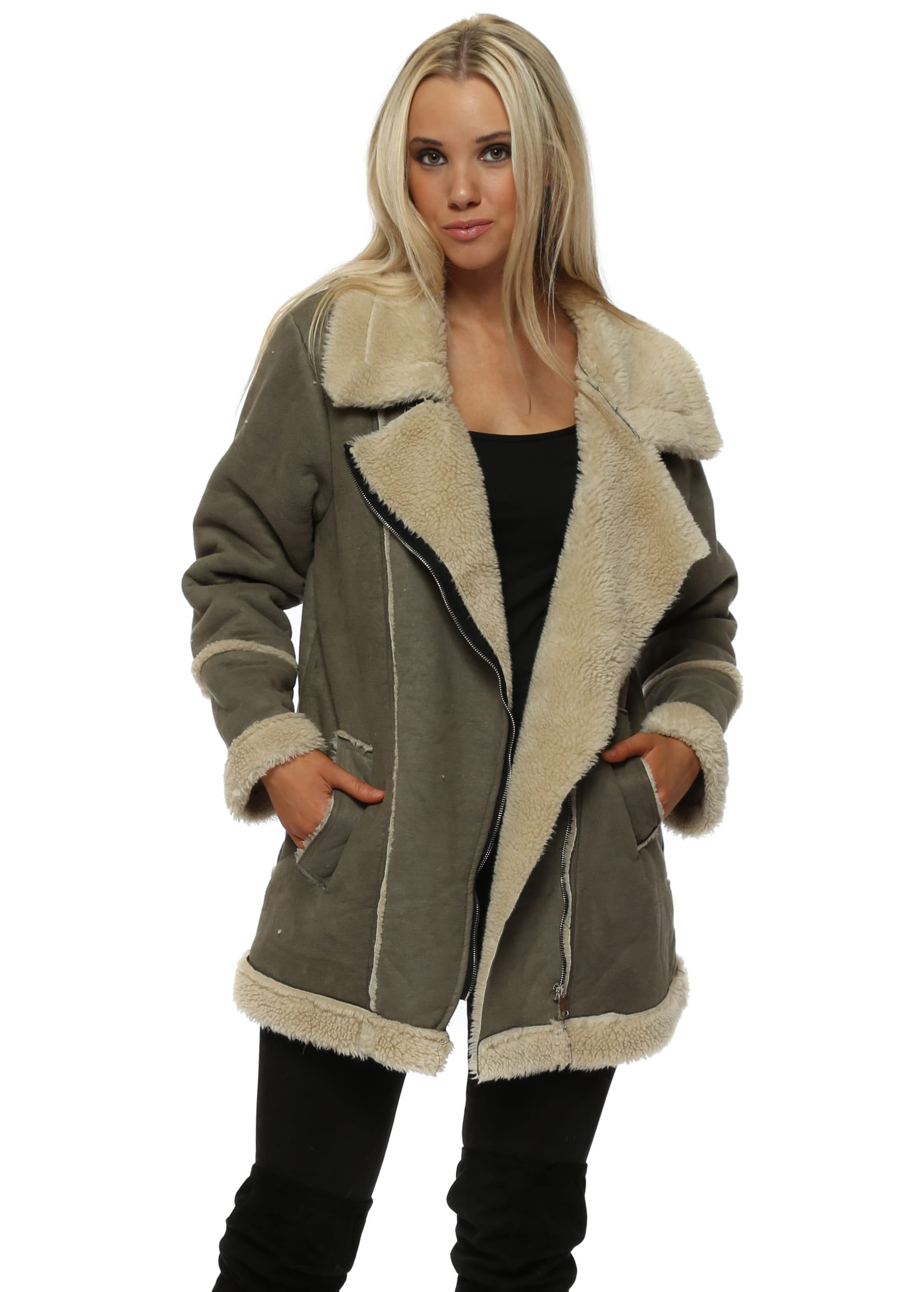 a541e3c49dfd2 Khaki Green Aviatoer Jacket - Faux Fur Shearling
