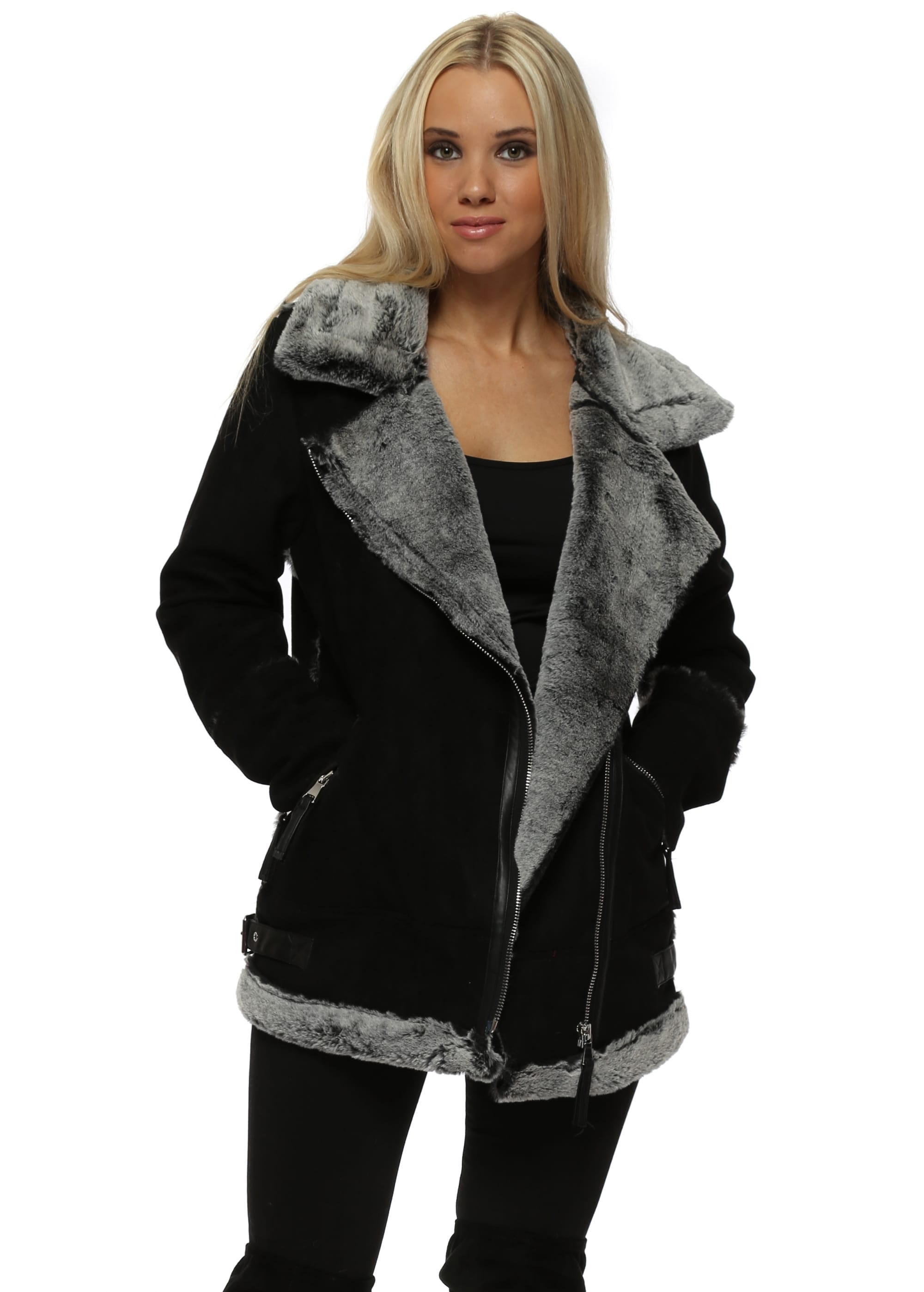 1bd7011a1515b Black Faux Fur Shearling Aviator Jacket