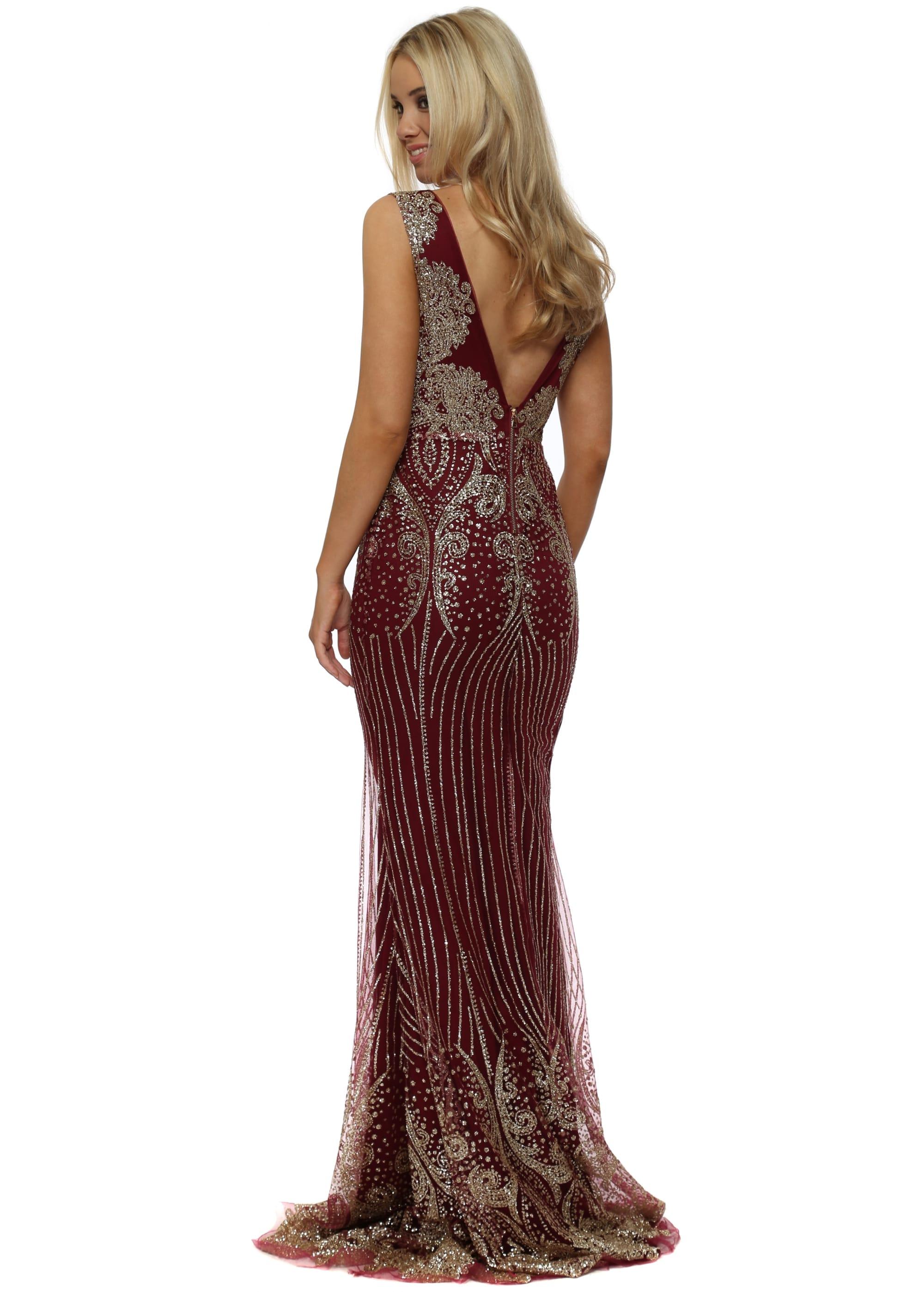 ba30cca1 Burgundy & Gold Glitter Sequins Fishtail Evening Dress