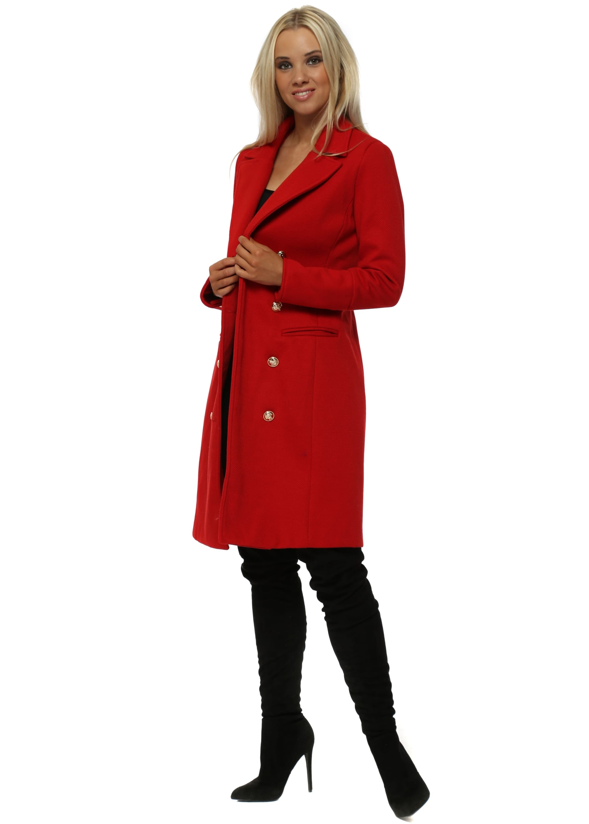 fdd1d6a17 Lucy Wang Gold Button Double Breasted Tailored Red Coat