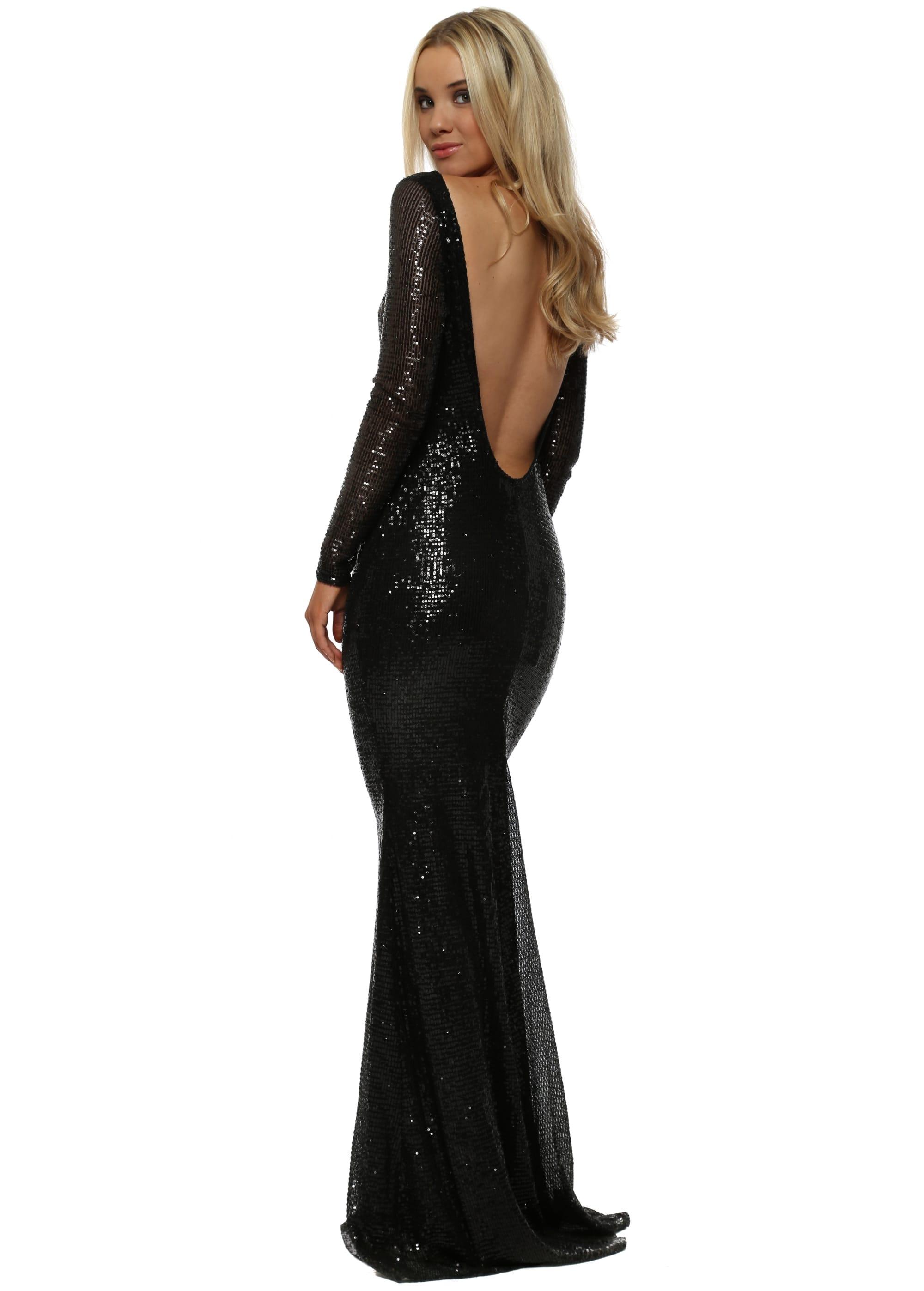 343aa5764e8 Stephanie Pratt Open Back Black Sequin Fishtail Maxi Dress