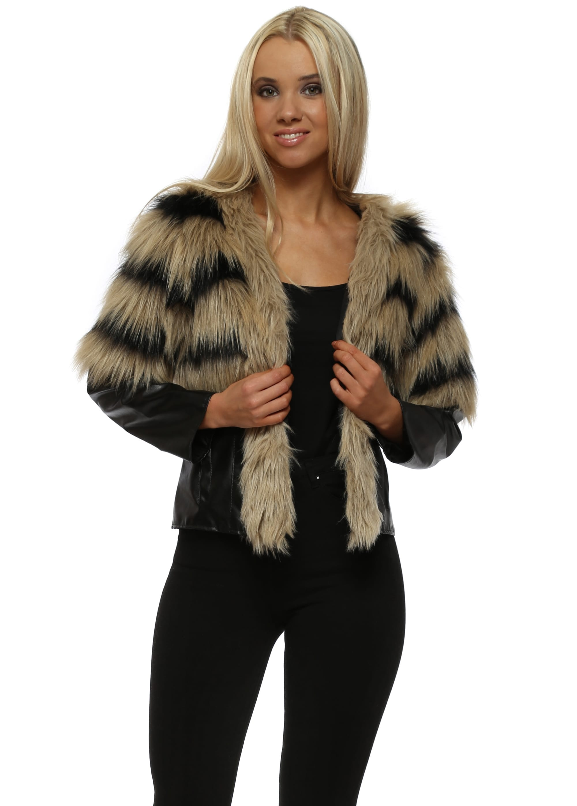 1ad985c0137 Faux Fur PVC Cropped Rambo Jacket