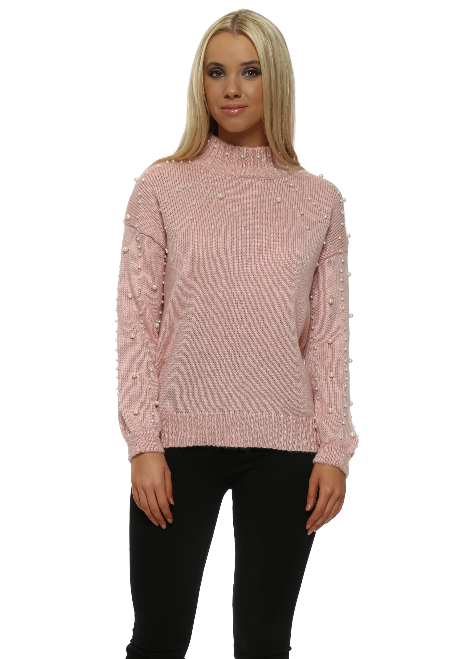 60a07a999eb Baby Pink Speckled Pearl Polo Neck Jumper