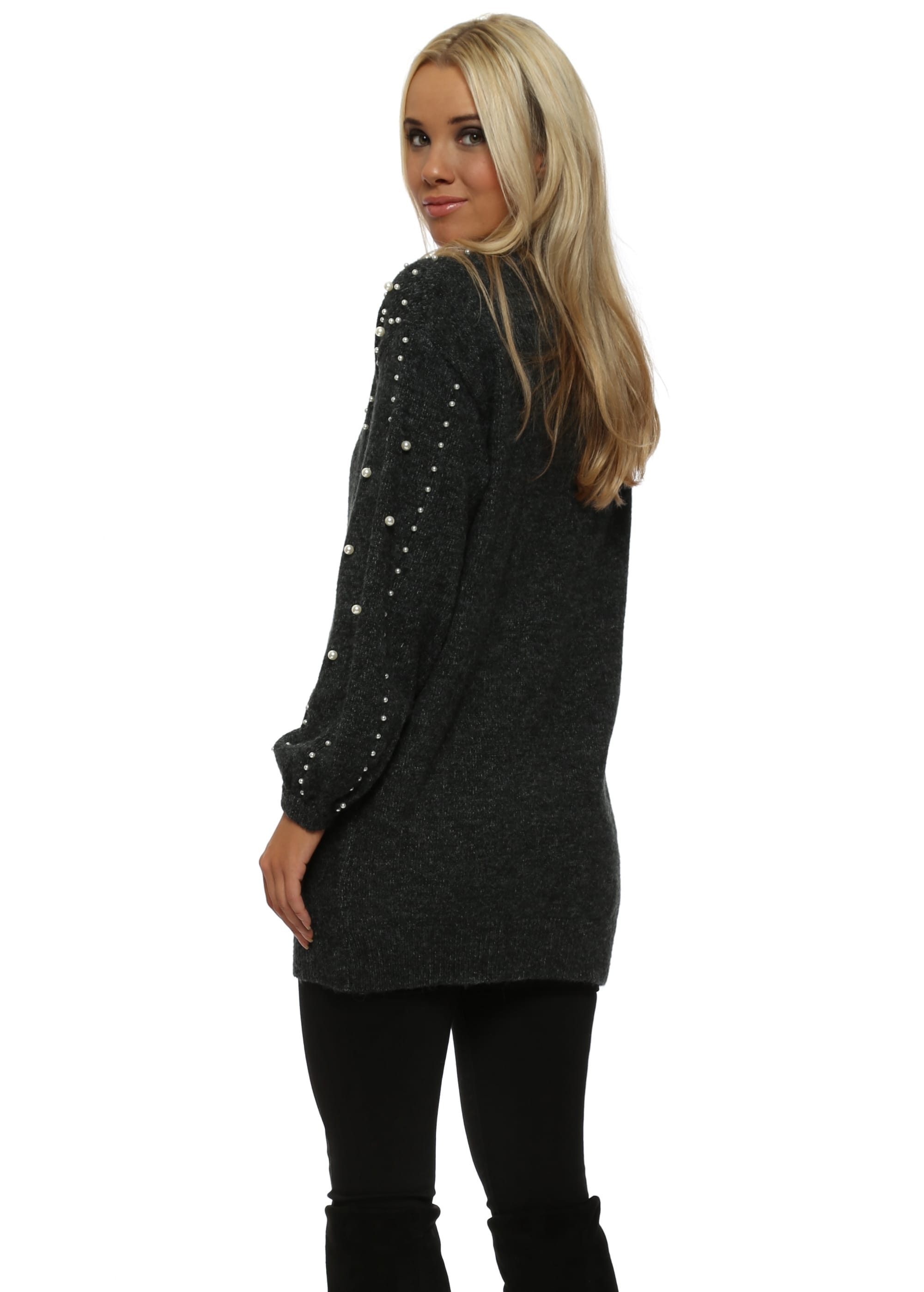 a3875132b60 Dark Grey Pearl Embellished Knitted Jumper Dress