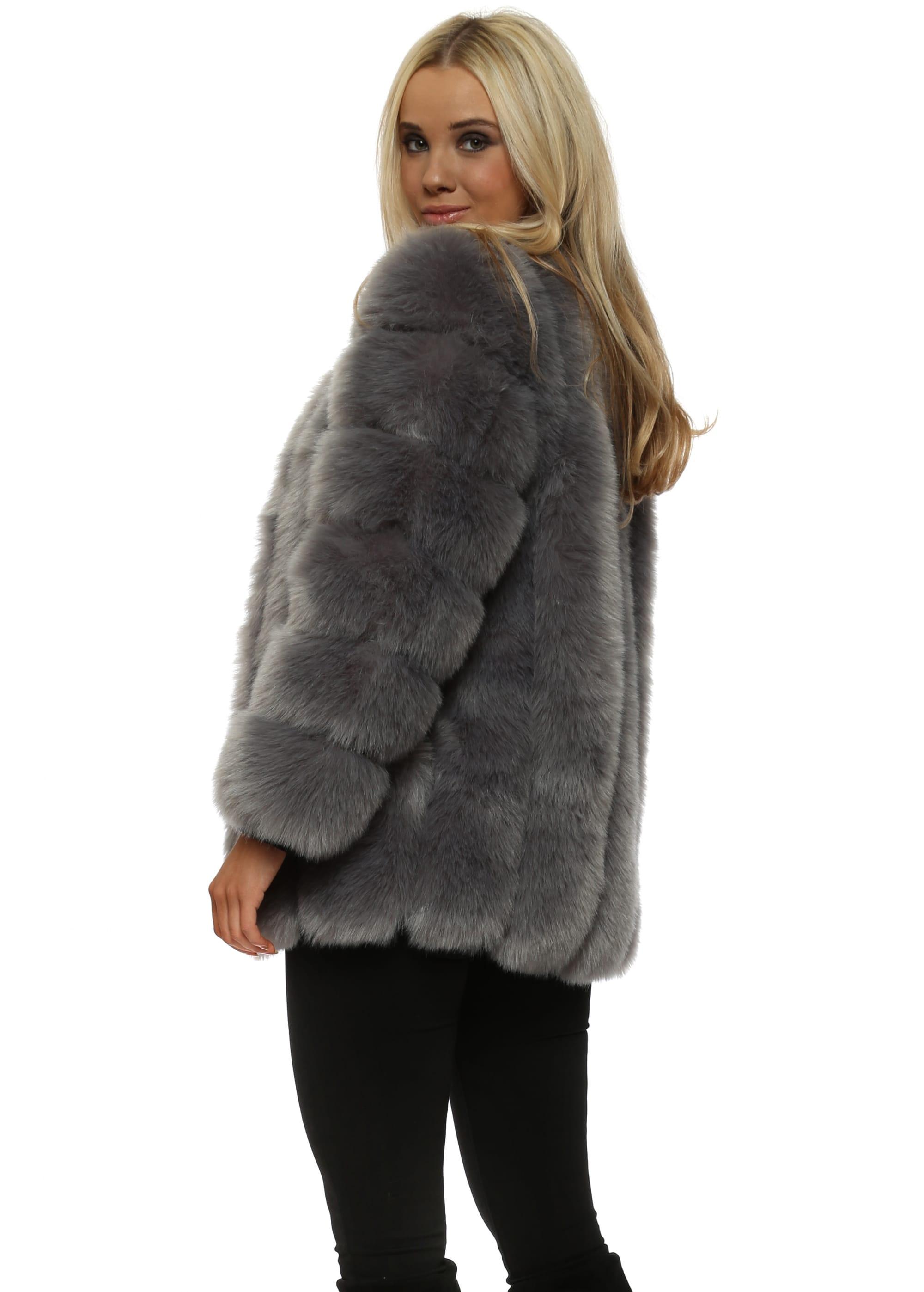 c52895d6c Renaissance Grey Luxe Faux Fur Coat