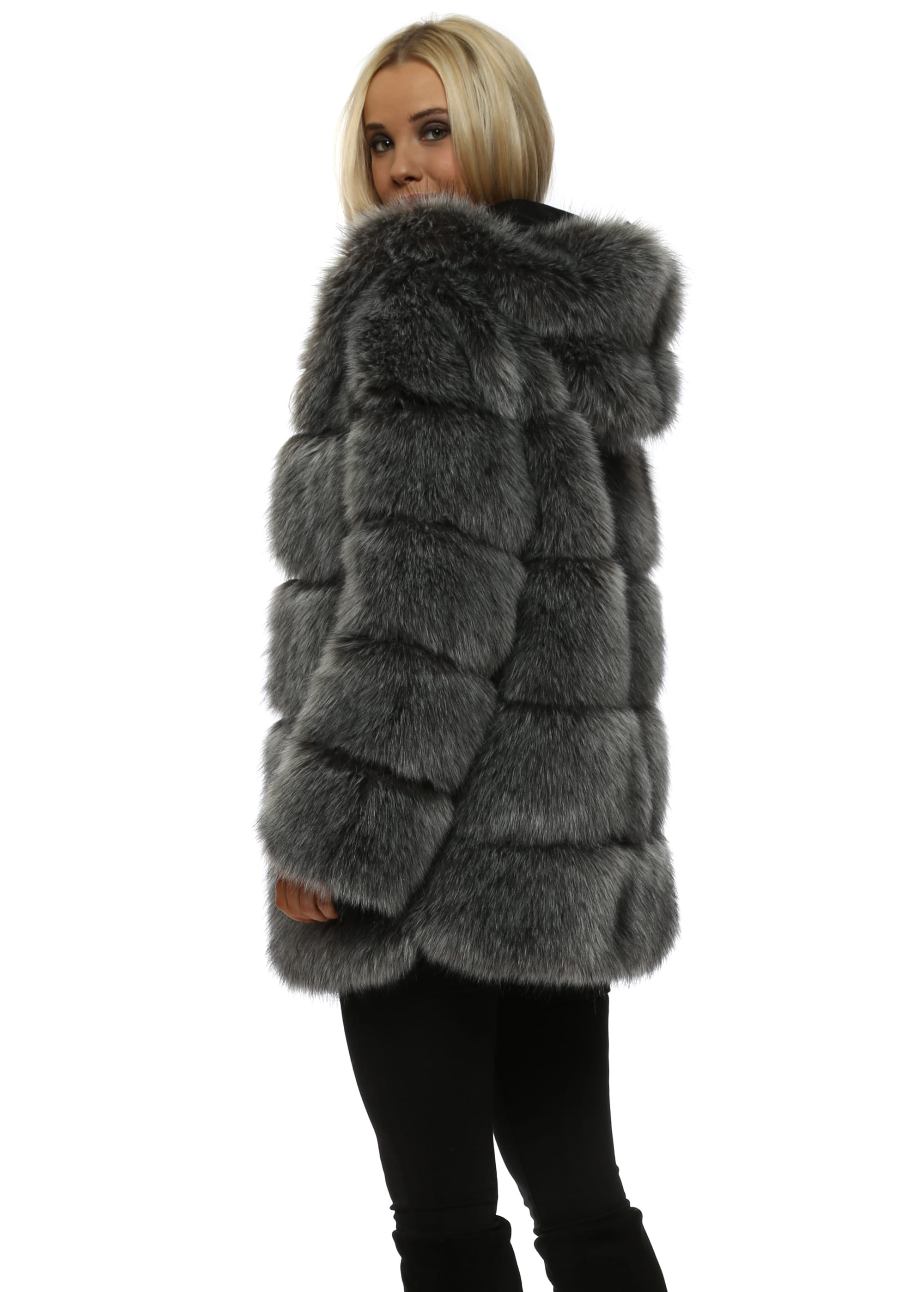 0a092db19 Amo Couture Rubens Silver Fox Hooded Luxe Faux Fur Coat