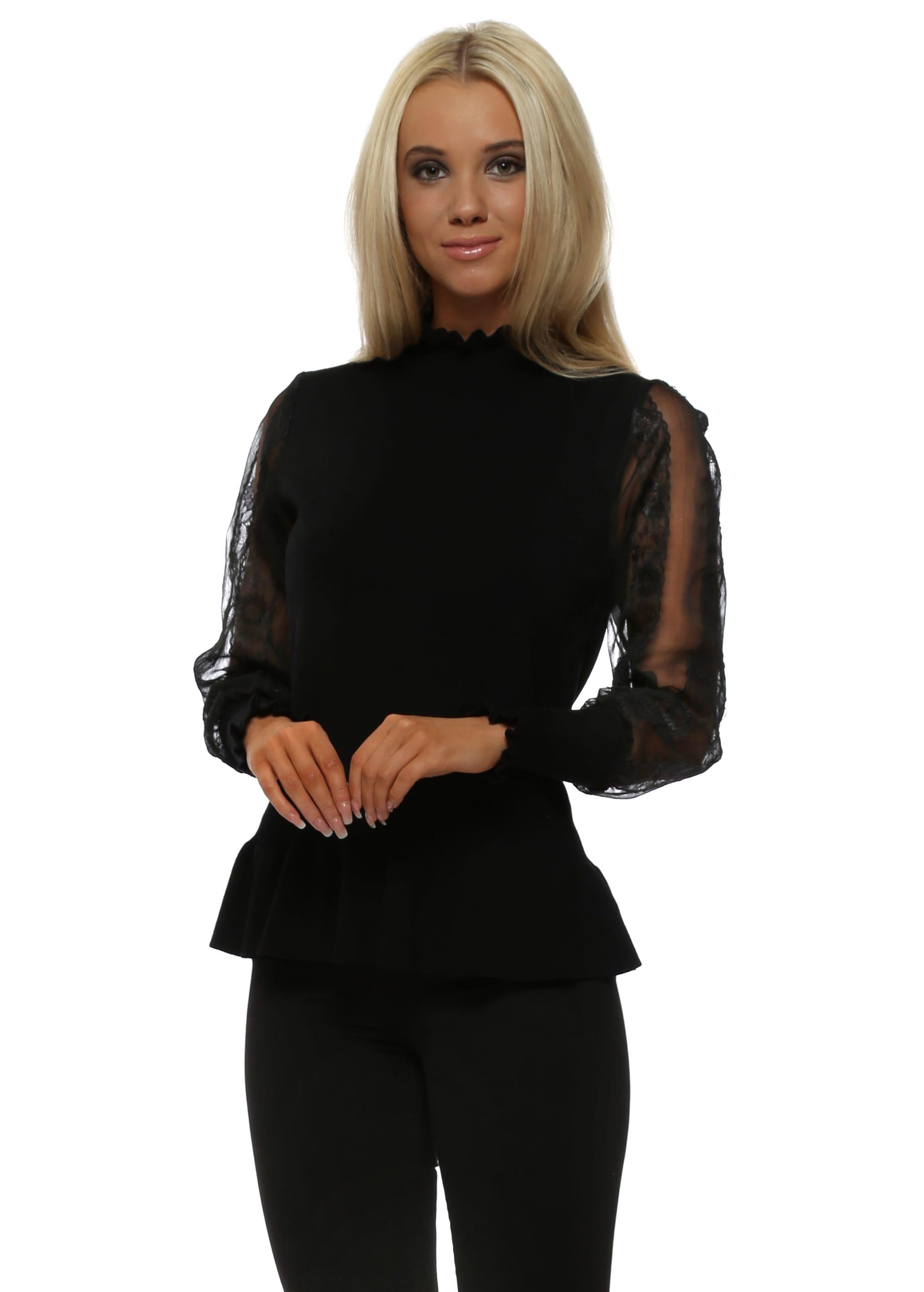 072c446a840 Black Lace Sleeve Peplum Jumper - Laetitia Mem