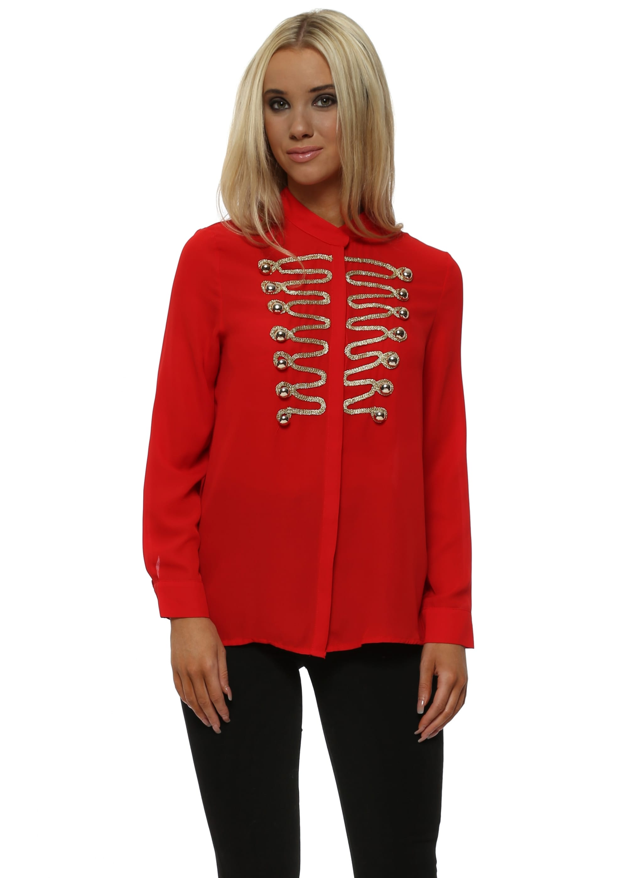 bf5bfec1a2263b Red Chiffon Gold Detail Military Shirt