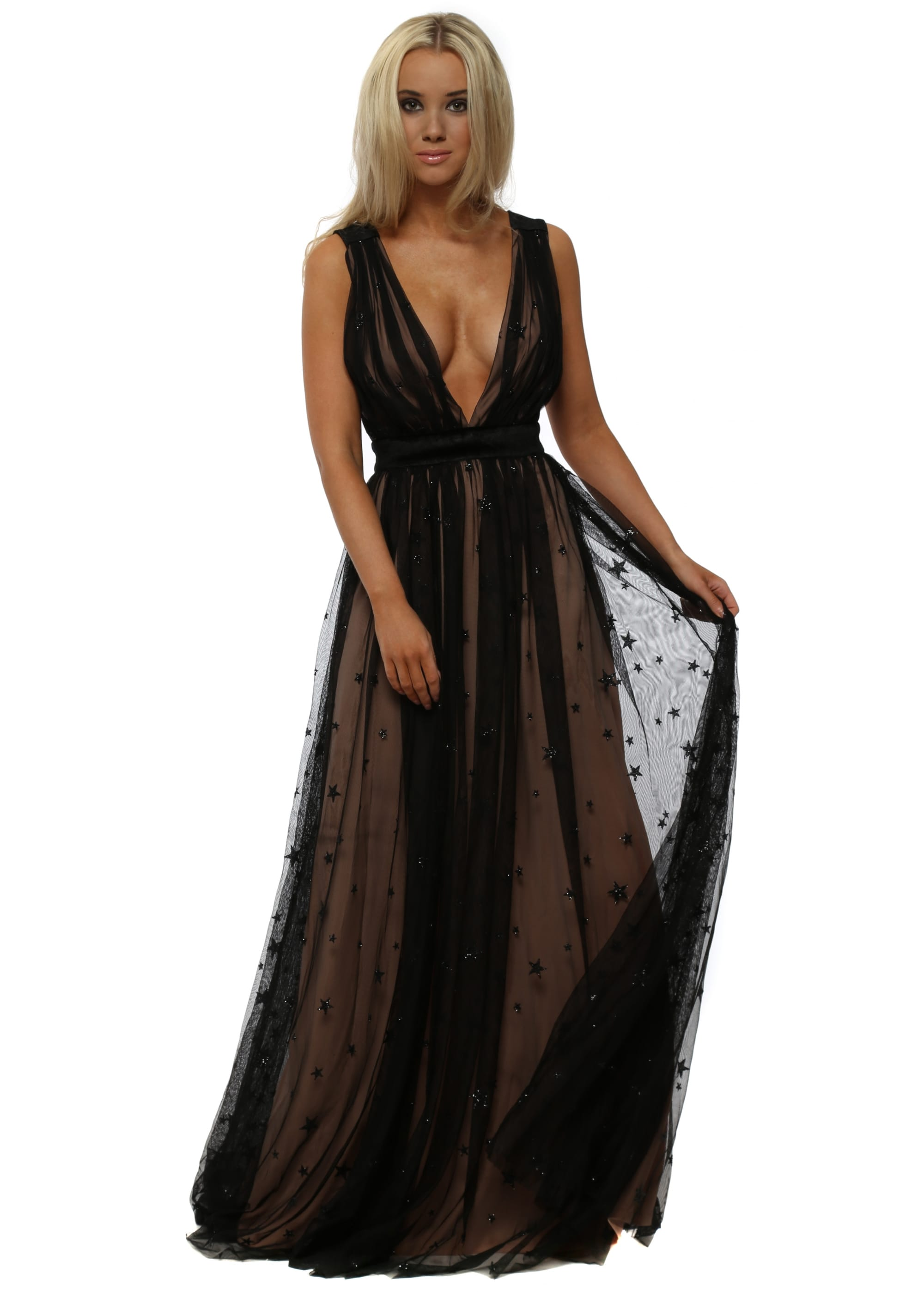Stephanie Pratt Black Glitter Star Maxi Dress