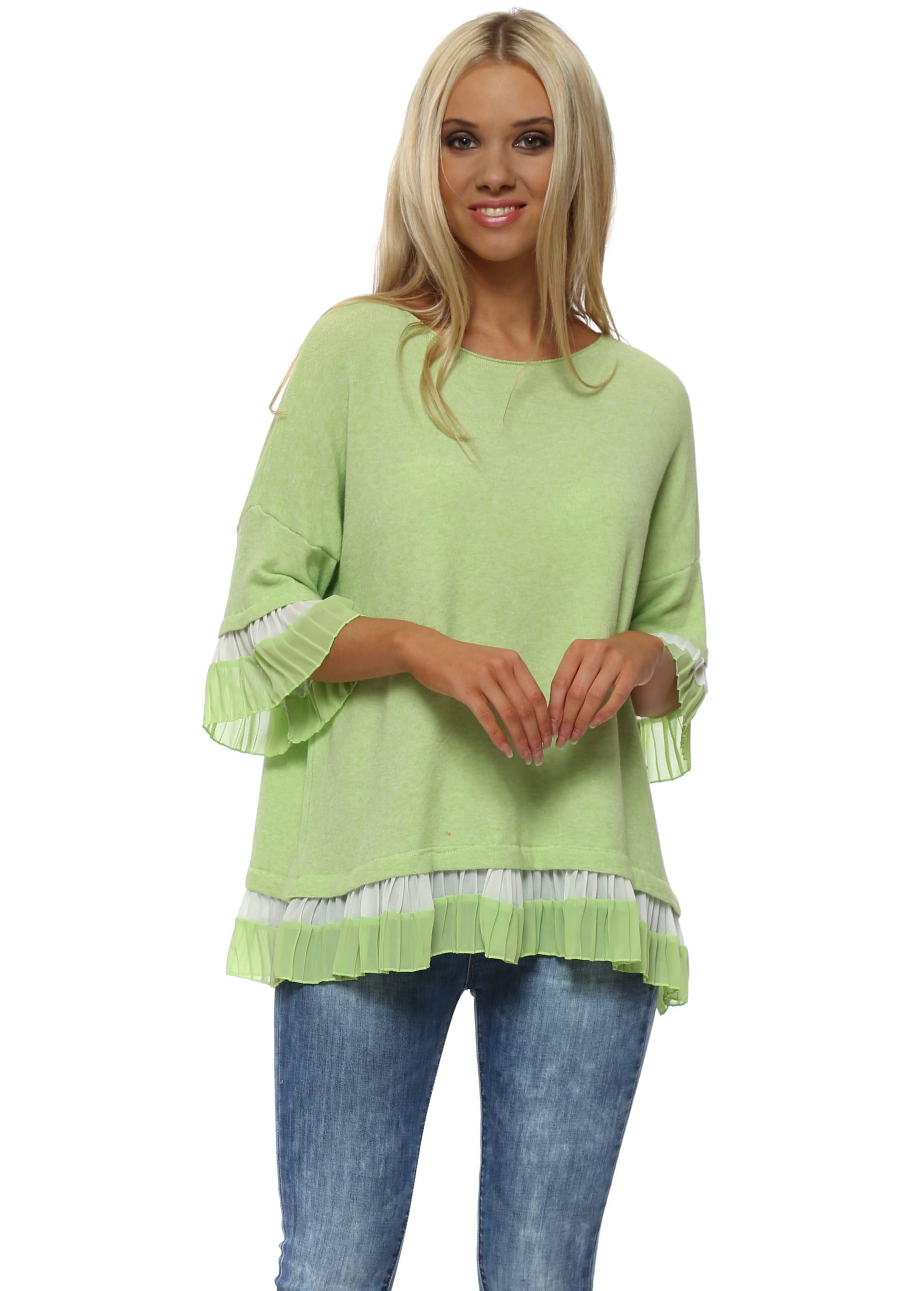 2fdfc8cd6 Lime Soft Knit Pleat Hem Jumper by C Valentyne
