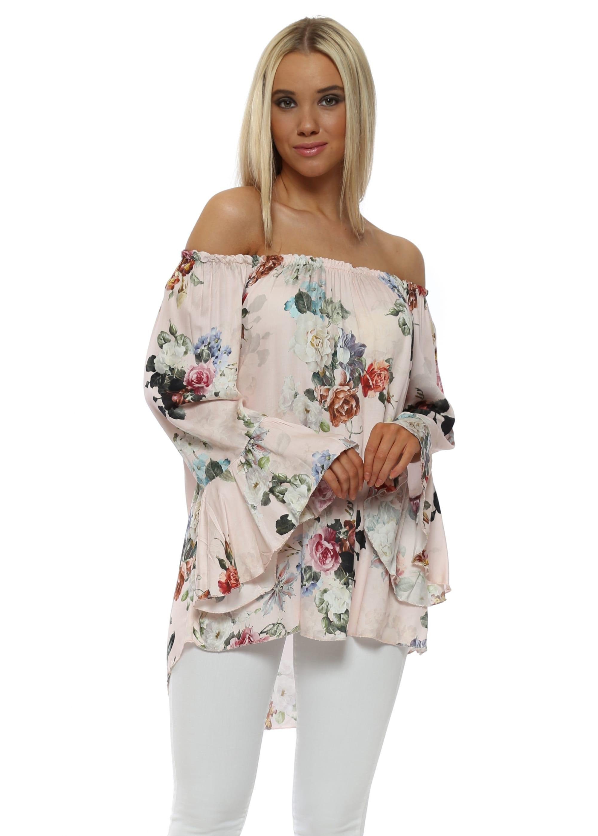 08e4371a73151 Blush Pink Floral Frill Cuff Bardot Top