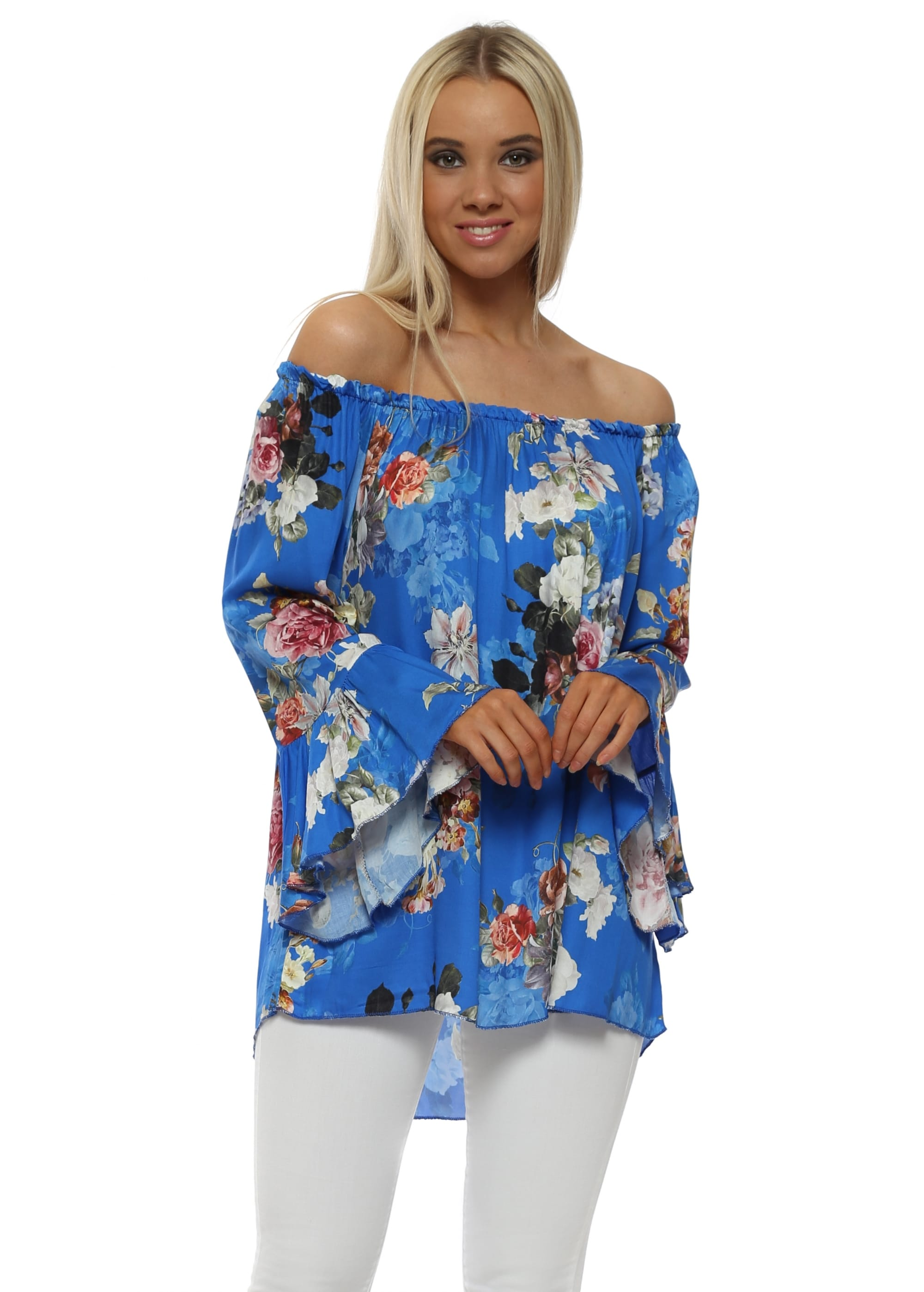 2aa0e2ca40bda Cobalt Blue Floral Frill Cuff Bardot Top