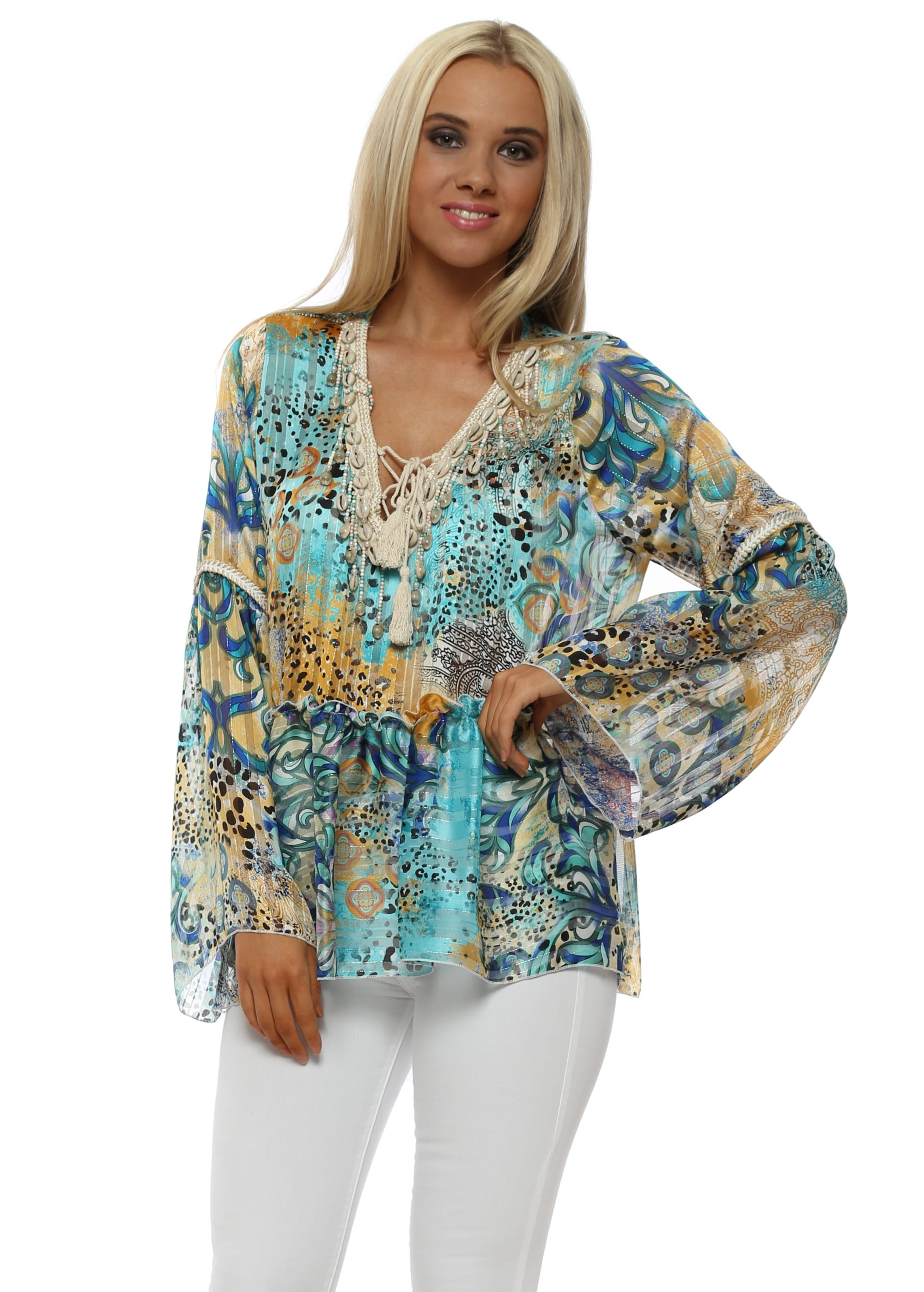 90247bd726ea Blue & Turquoise Leopard Print Bell Sleeve Shell Top