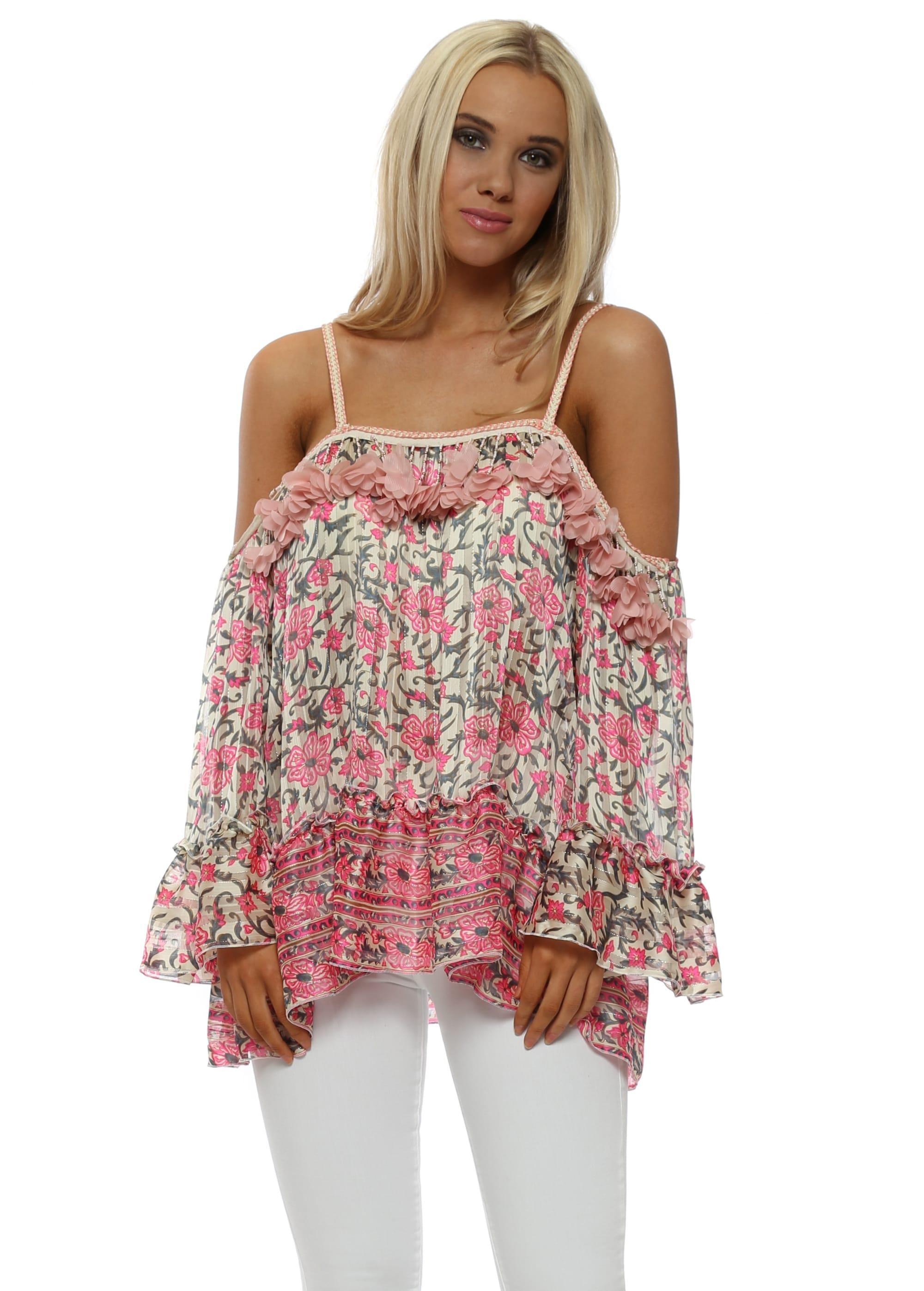 638b1de22e50d Pink Floral Print Embellished Cold Shoulder Top
