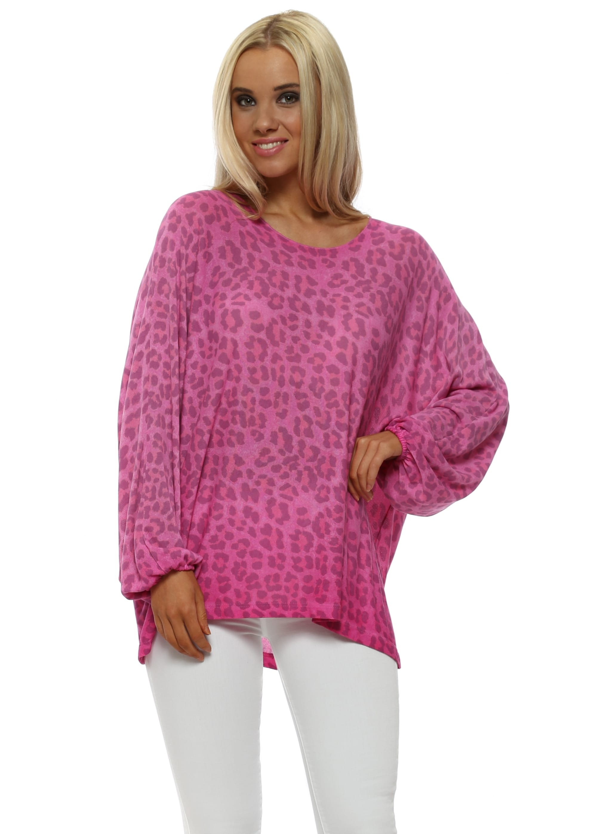2d4afe54d1f Made In Italy Hot Pink Leopard Print Relaxed Top