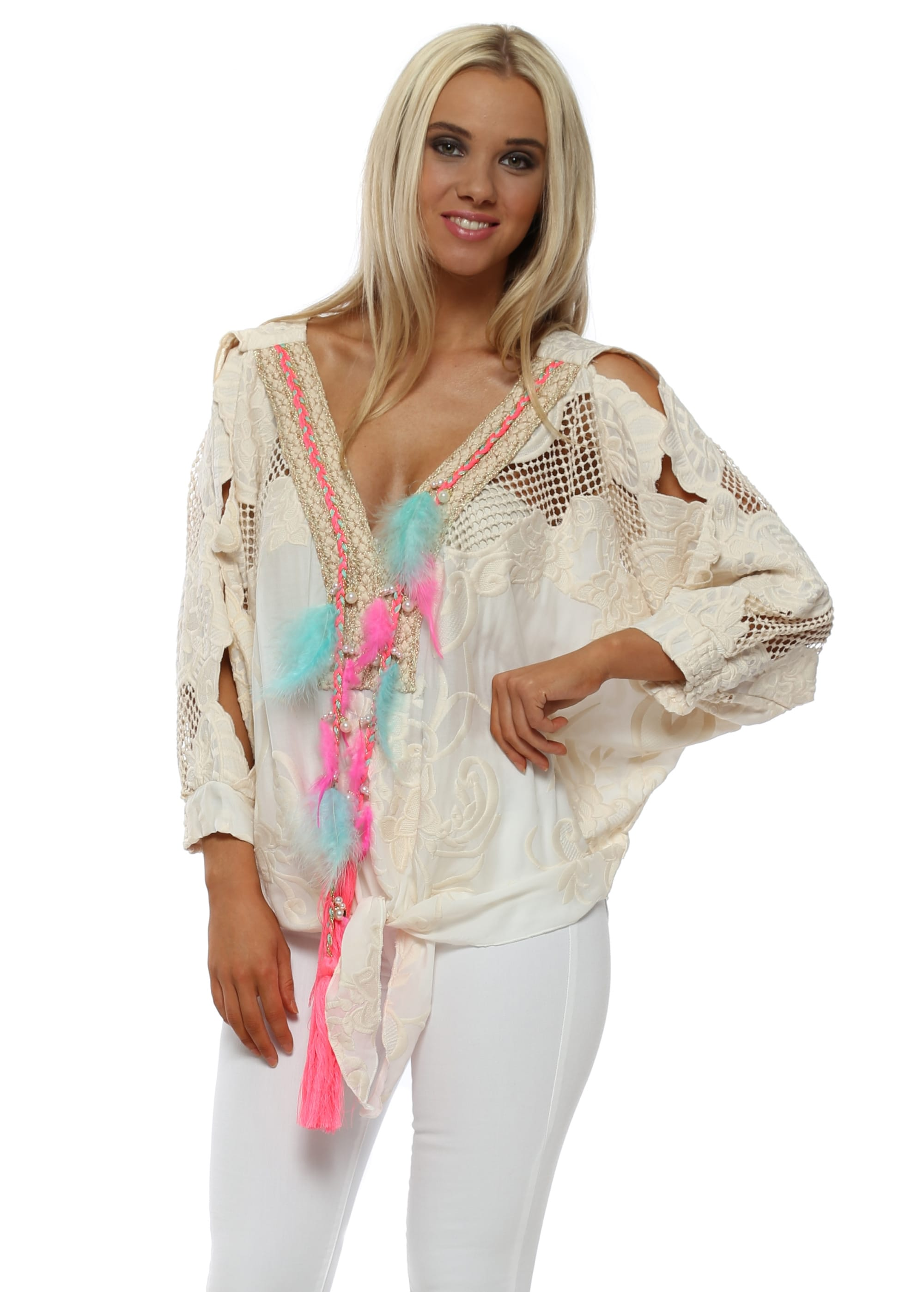 c151e864a7f030 Cream Embroidered Feather Tassle Tie Top