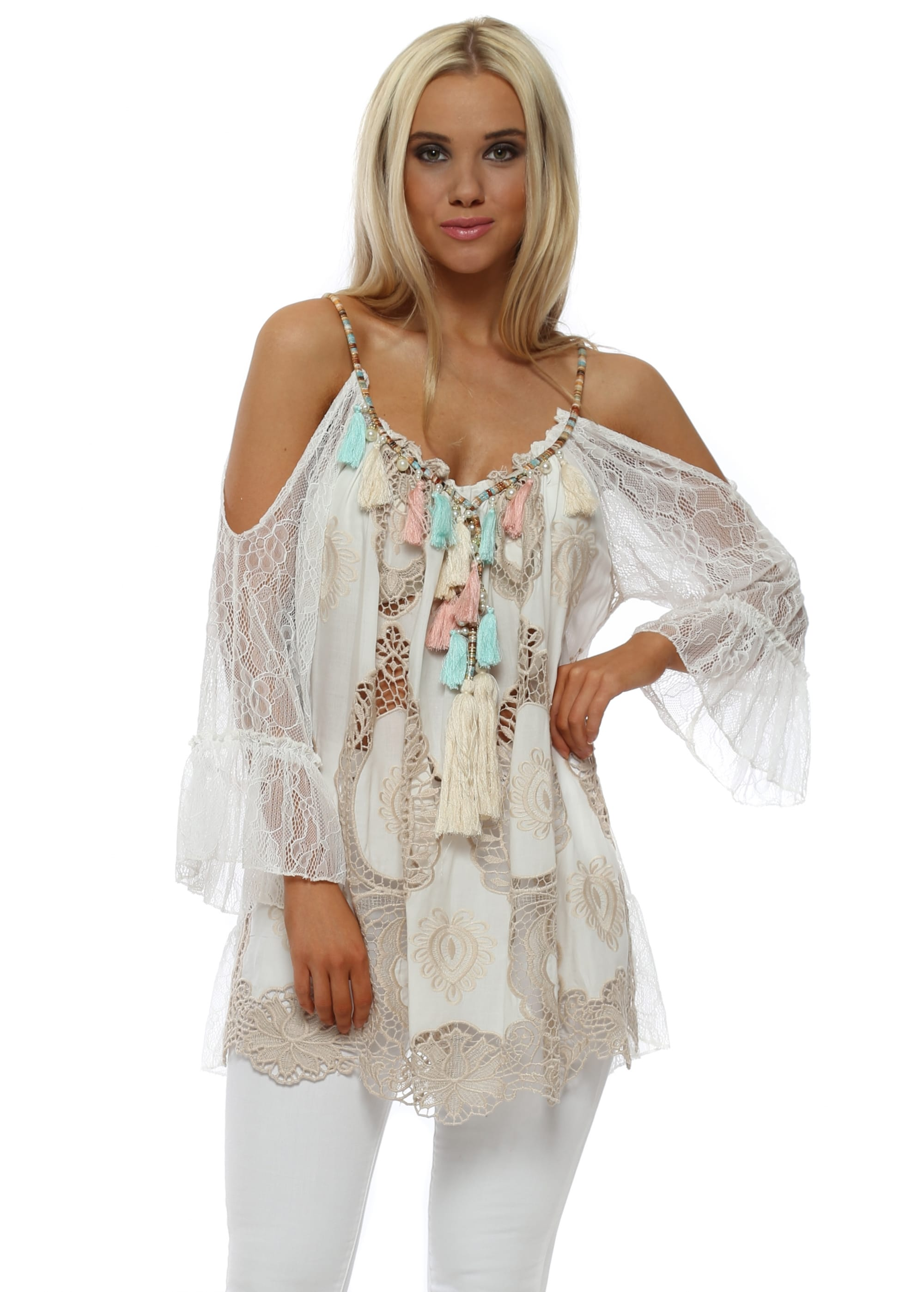 c019596ee6bf08 White Lace Cold Shoulder Beaded Tassel Top