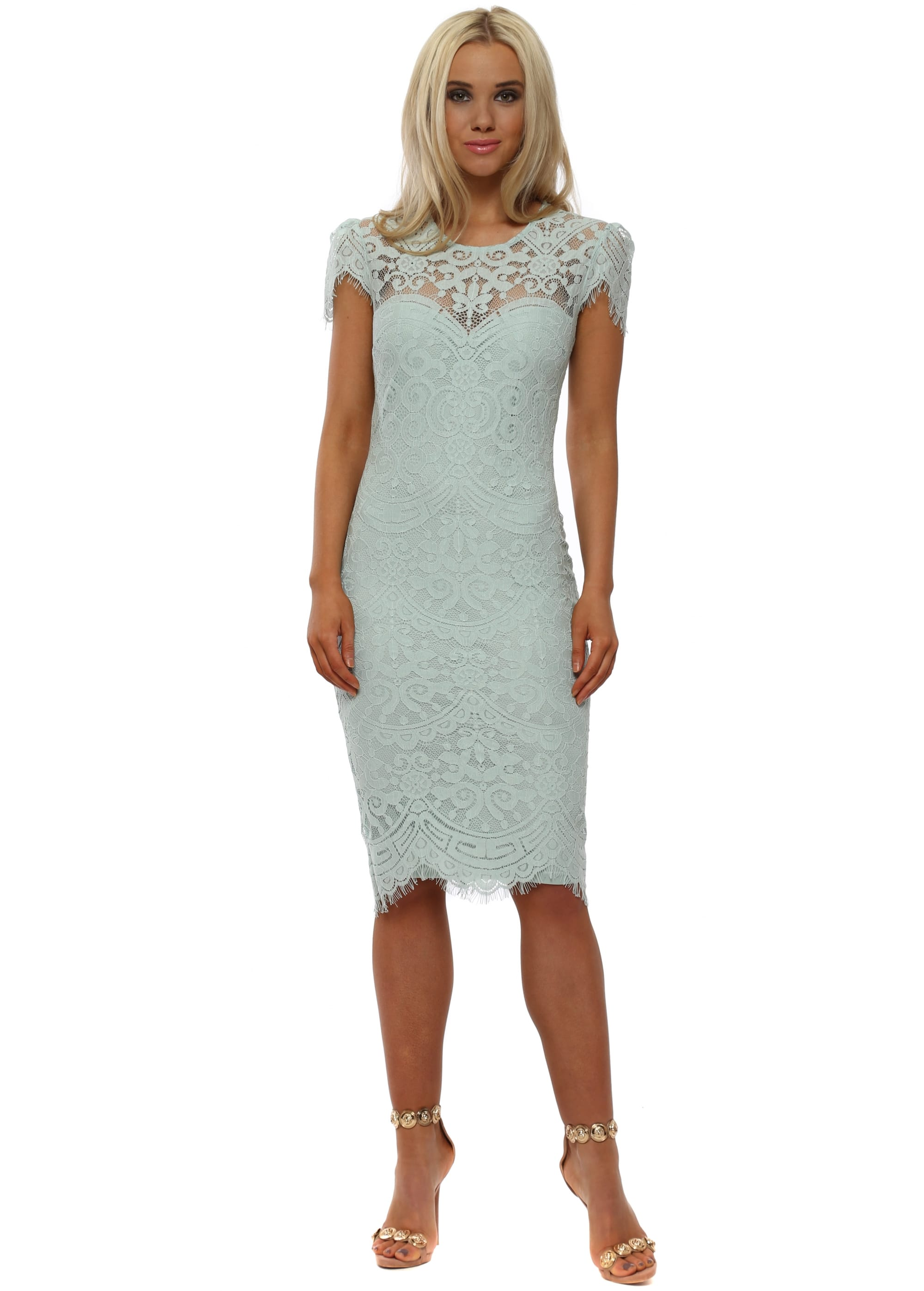 a1ac49abd1d768 Goddess London Duck Egg Blue Lace Midi Dress