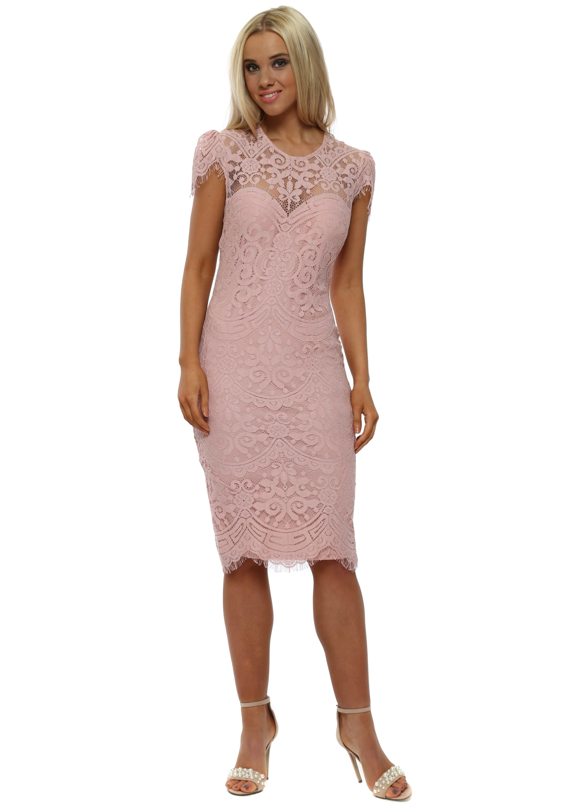 9002be1356fec6 Blush Pink Cap Sleeve Lace Midi Dress