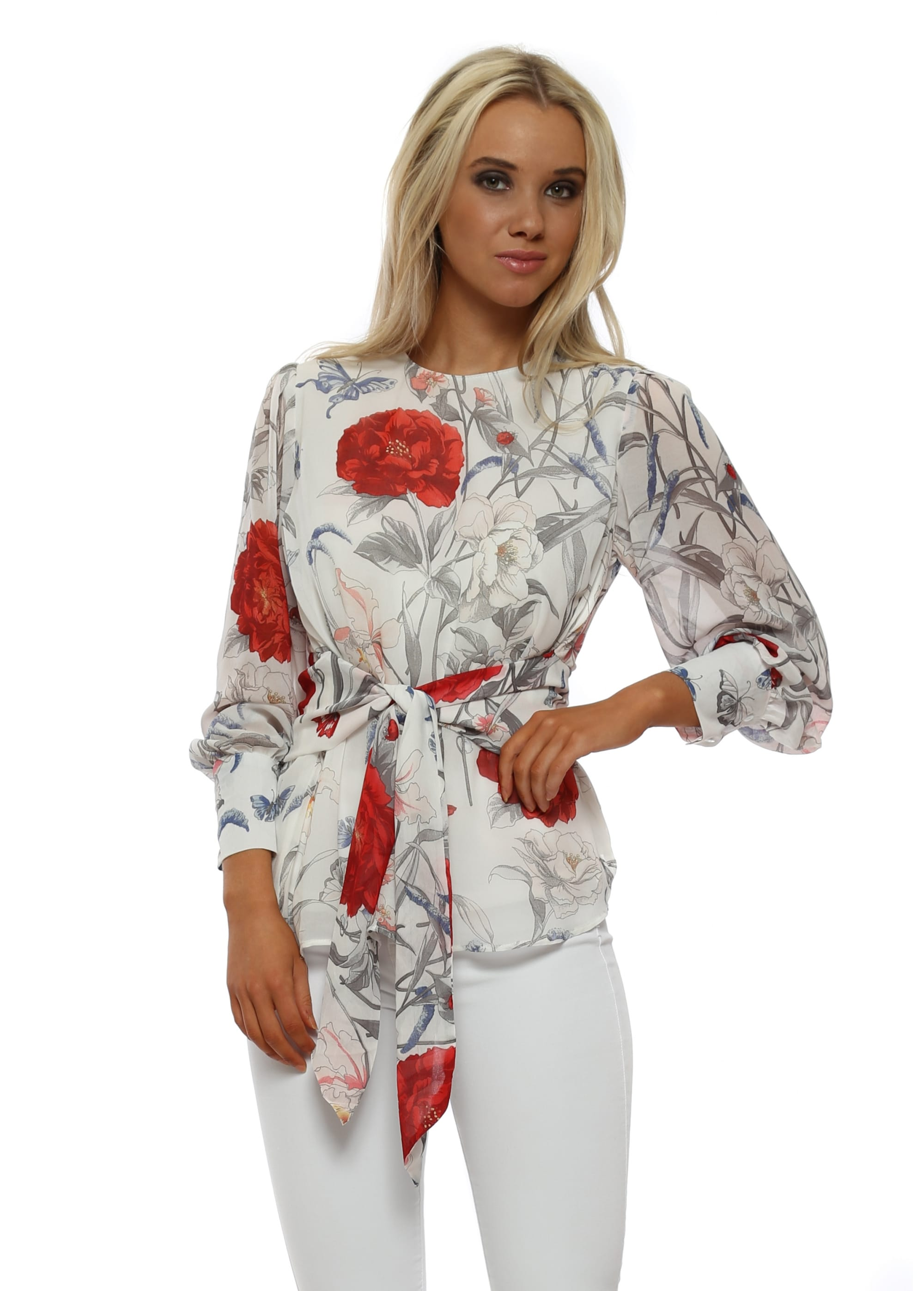 2fedede419bc67 White & Red Floral Tie Front Blouse Top